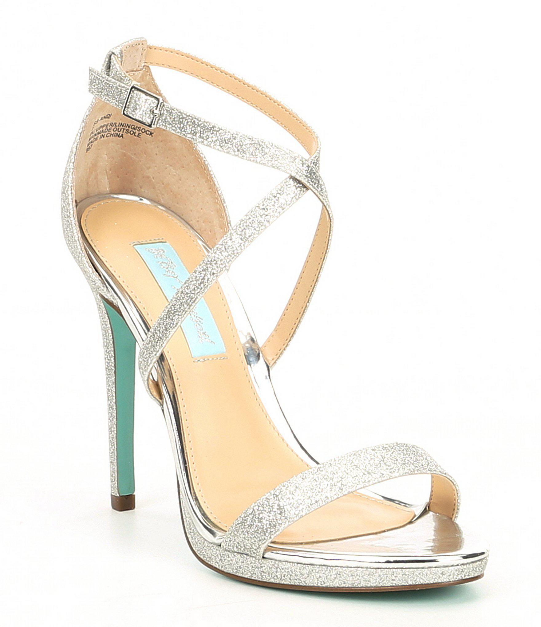 d934071a7c6 Betsey Johnson. Women s Metallic Blue By Andi Strappy Glitter Dress Sandals