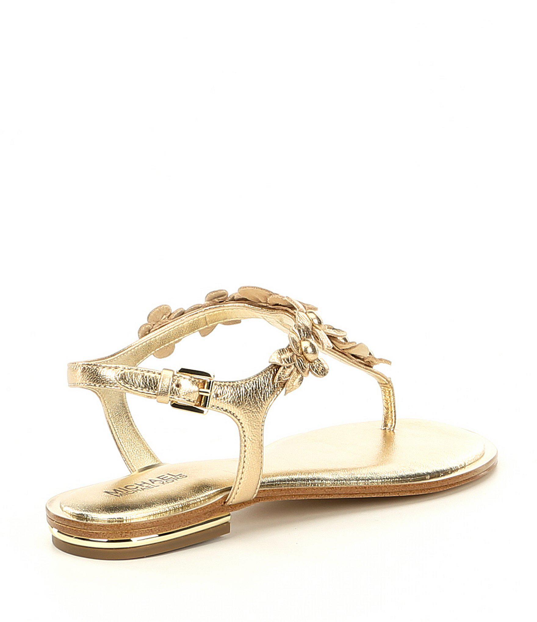 a2a6e0da7 Lyst - MICHAEL Michael Kors Tricia Metallic Floral Thong Sandals in ...