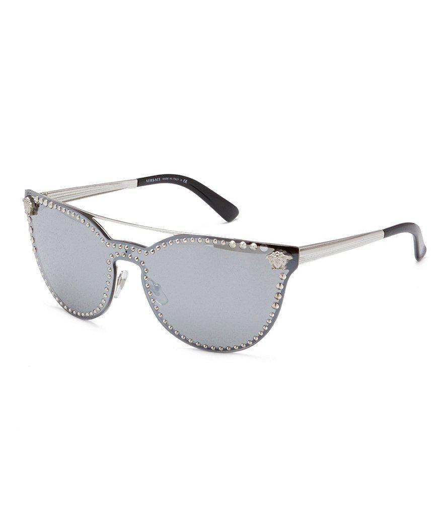 dc5e4ca533 Versace Medusa Logo Studded Mirrored Cat-eye Sunglasses in Metallic ...