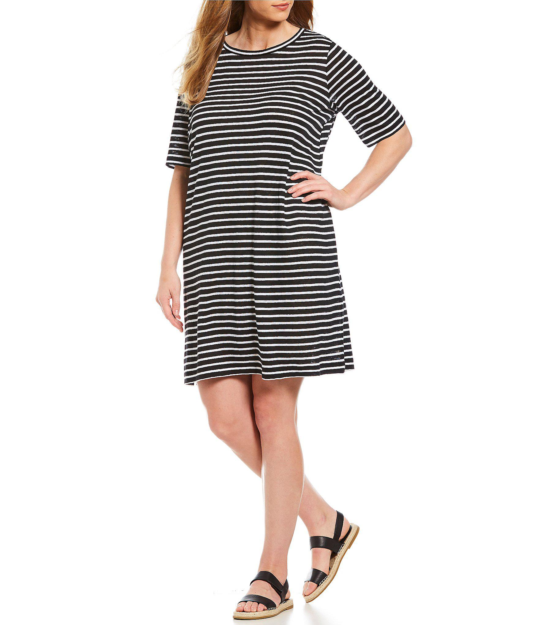e2d61182315 Lyst - Eileen Fisher Plus Size Round Neck Elbow Sleeve Dress in Black