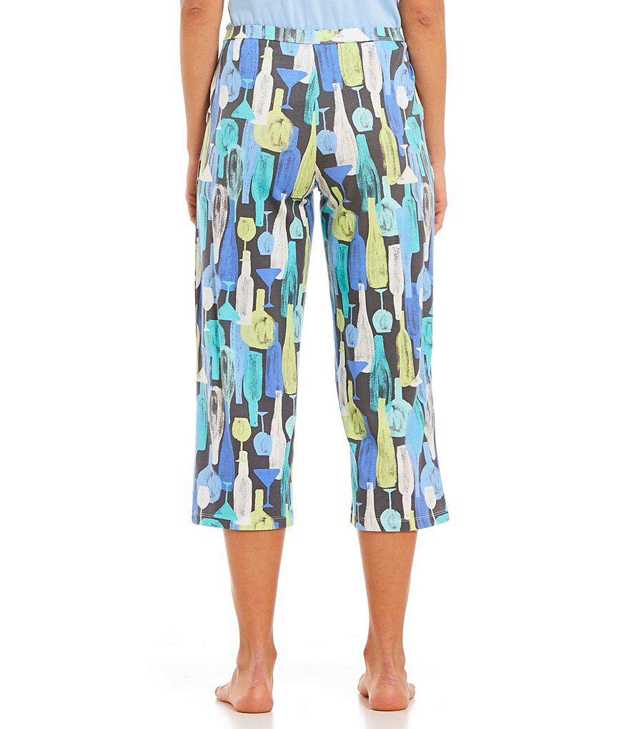 012022f71c Hue Tique Drink Water-print Capri Pants in Blue - Lyst