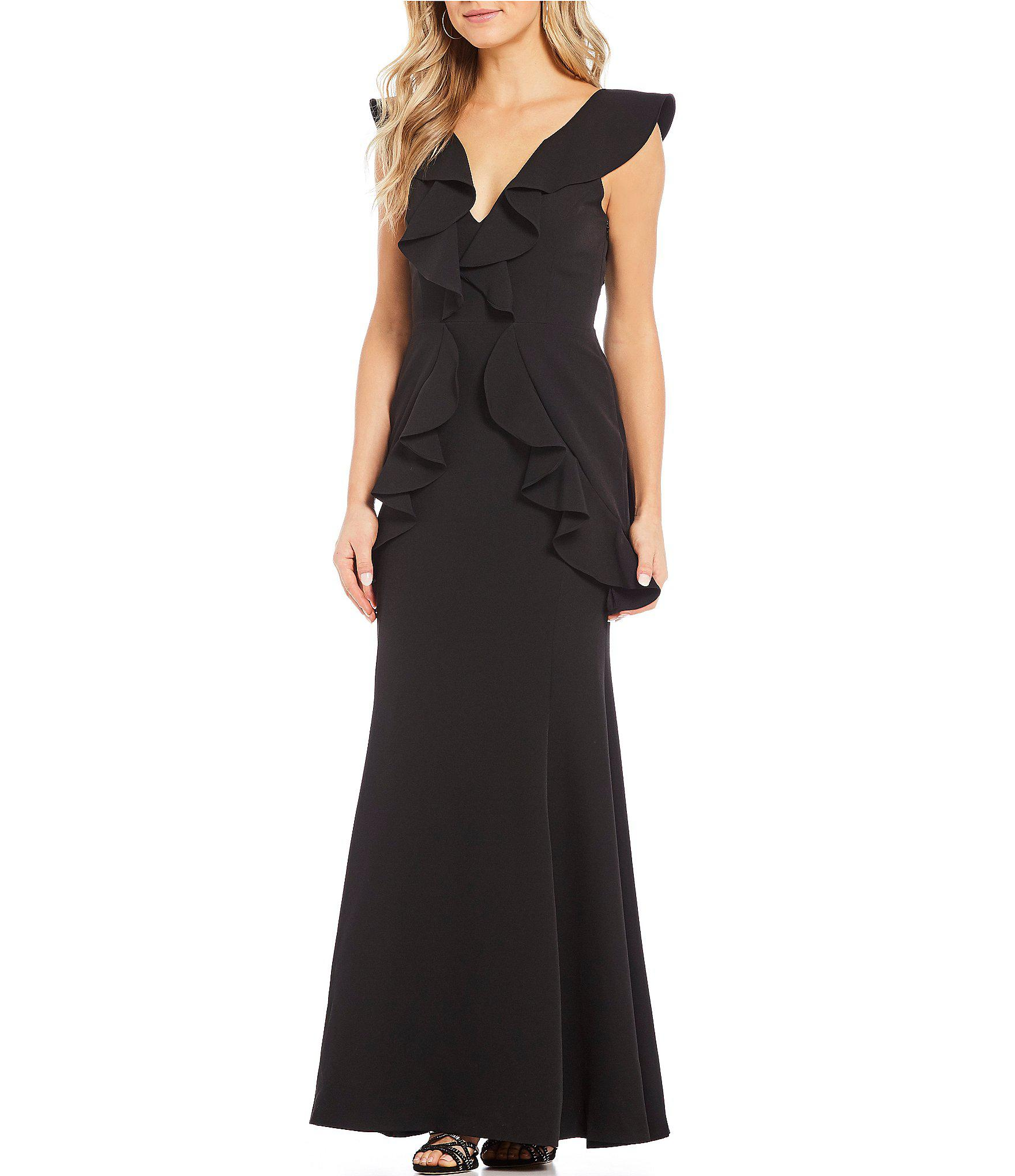 95a6b37cbc Gianni Bini Dee Ruffle Statement Shoulder V-neck Gown in Black - Lyst