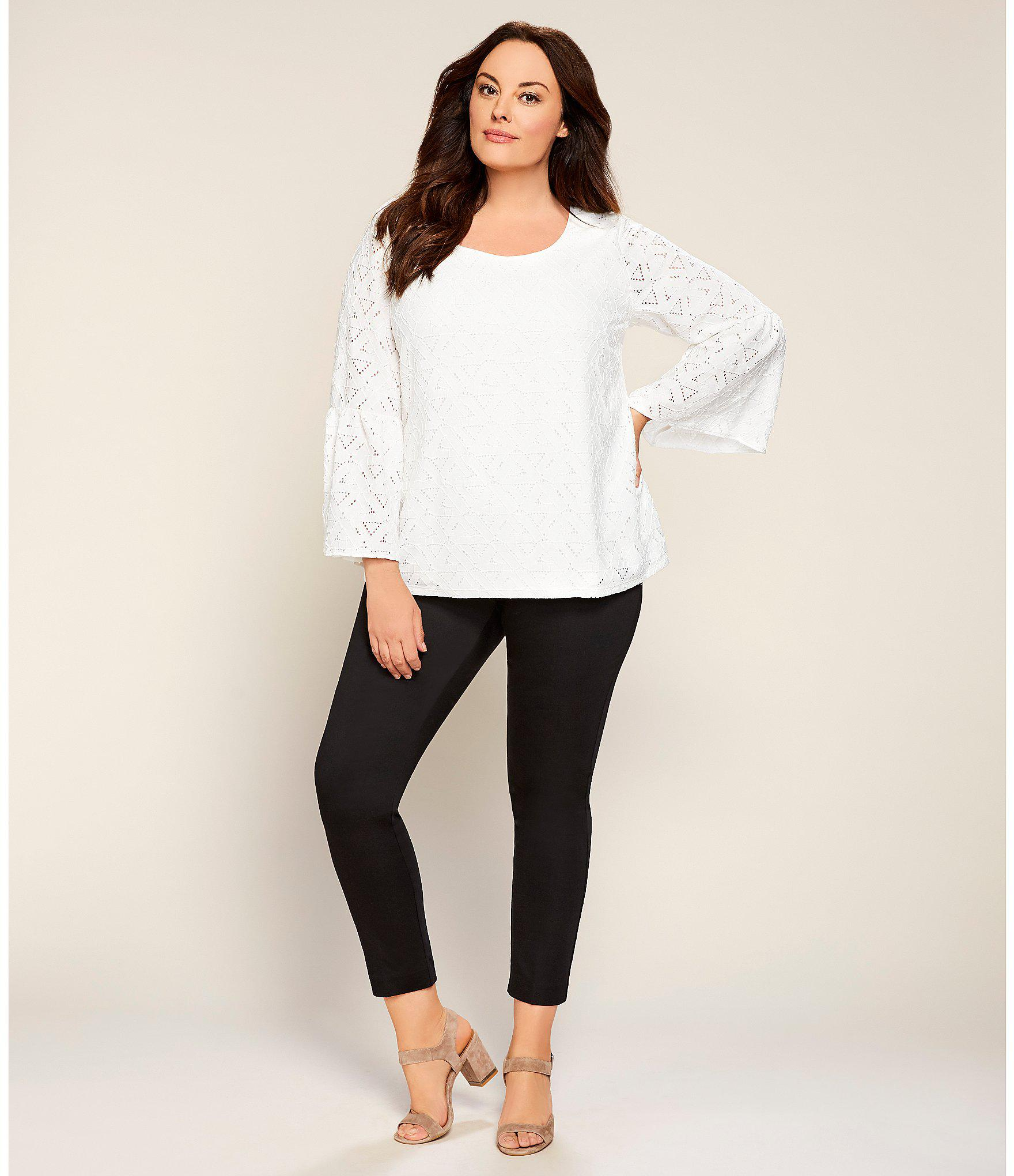 c5589f65668 Lyst - Calvin Klein Plus Size Triangle Eyelet Lace Bell Sleeve Top ...