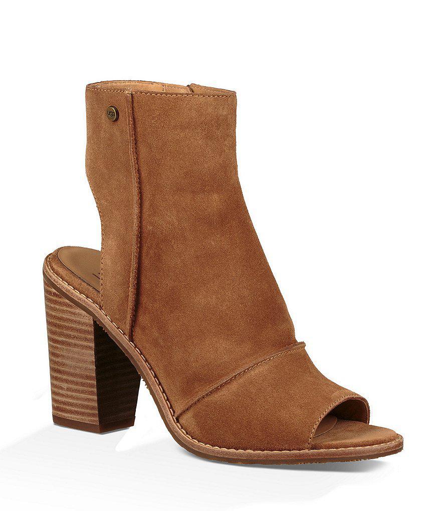 UGG® Valencia Peep Toe Block Heel Booties ojUQ8TUd