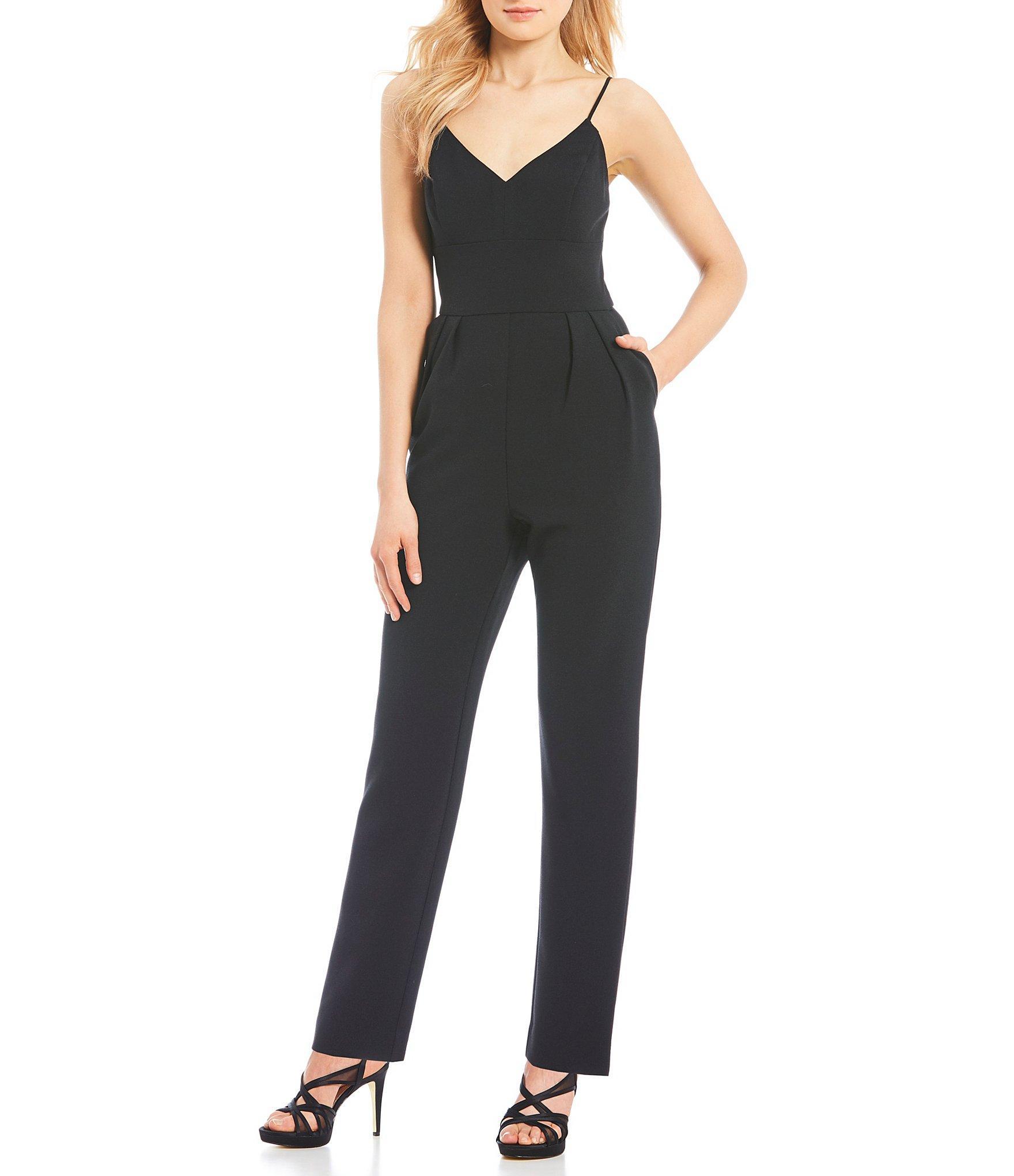 70245f5cedd Lyst - Eliza J Spaghetti Strap V-neck Jumpsuit in Black
