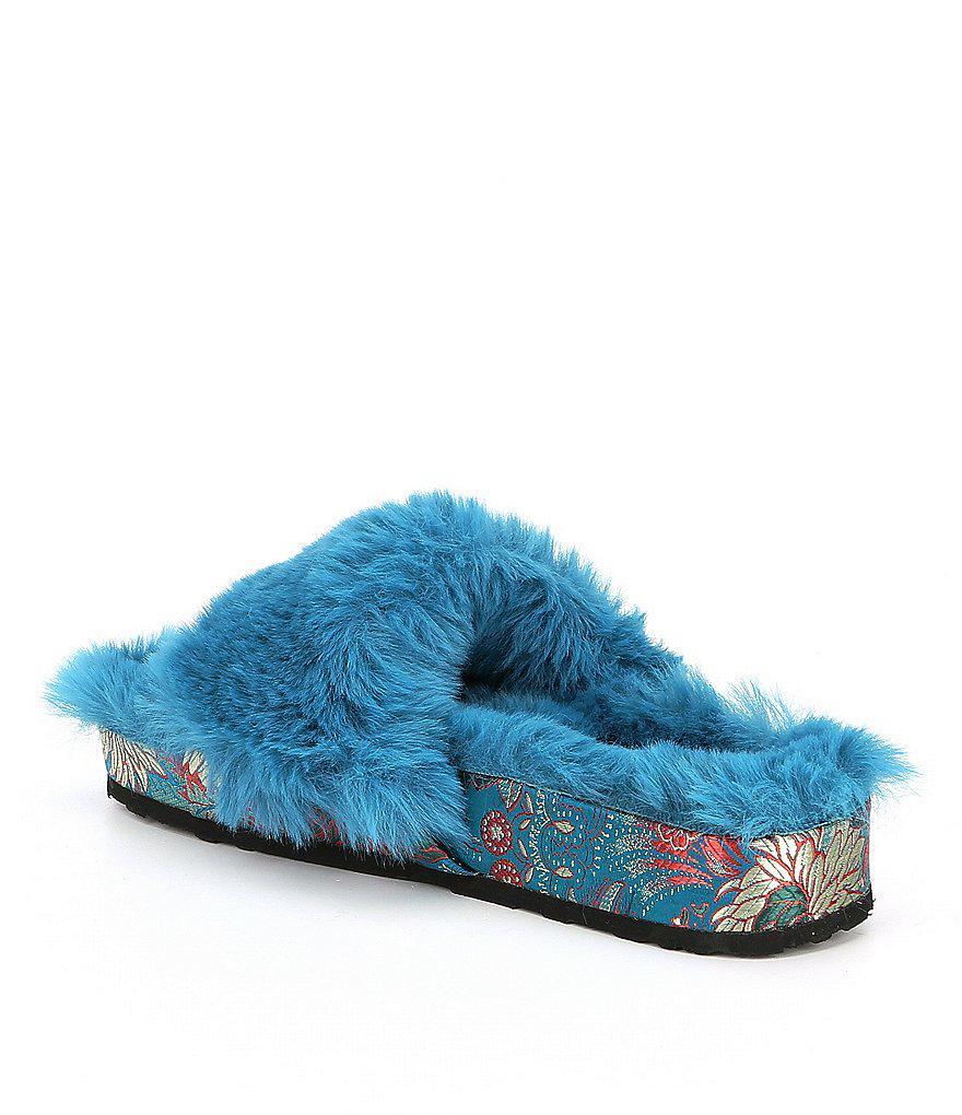 Gema Fuzzy Plush Faux Fur Slide Sandals Qnm8rv