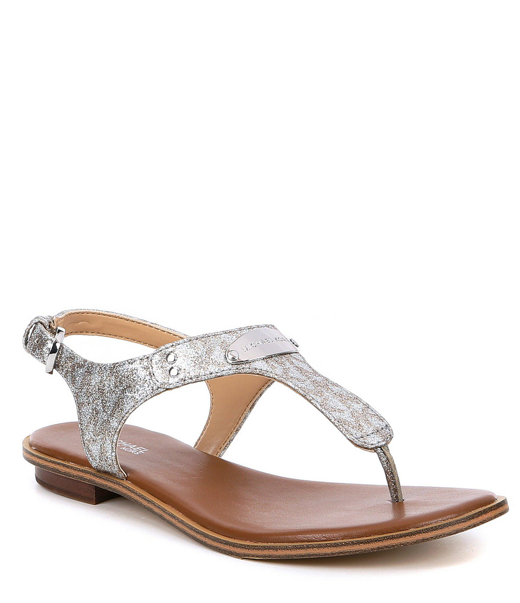 cce8e3b4cd69 Lyst - Michael Michael Kors Mk Plate Glitter Thongs in Metallic