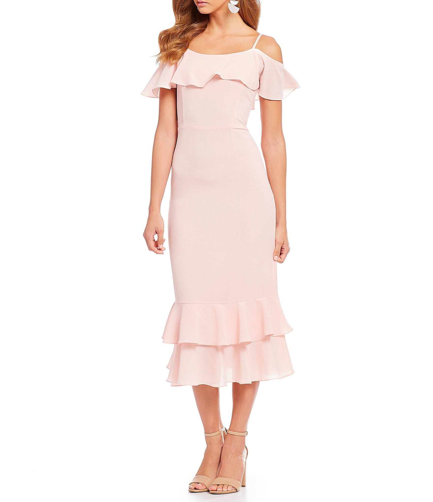 ff6ee5ccd63 Lyst - Sugarlips Ruffle Hem Cold Shoulder Midi Dress in Pink