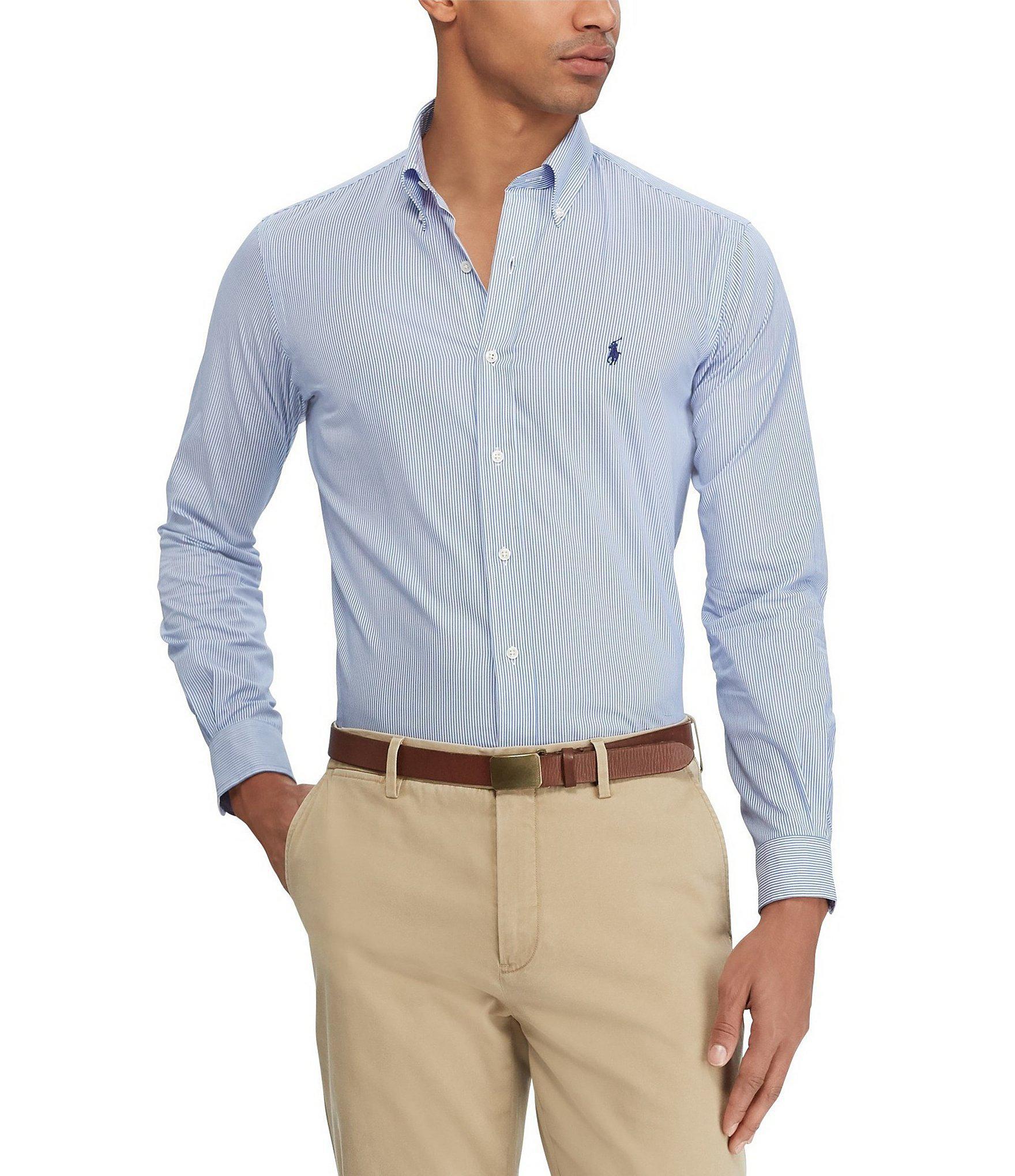 061593f91 Polo Ralph Lauren - Blue Stripe Stretch Poplin Long-sleeve Woven Shirt for  Men -. View fullscreen