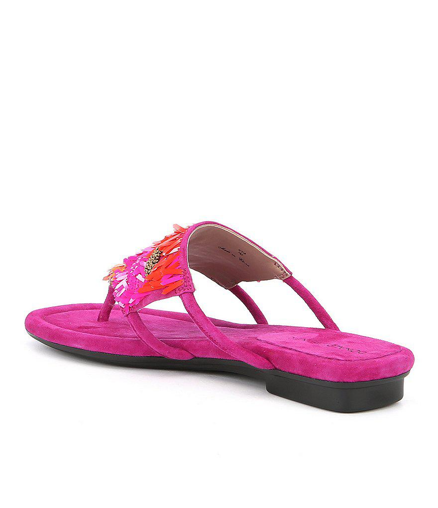 Kya Suede Sequin and Payette Embellishment Thong Sandals ixF7wrH