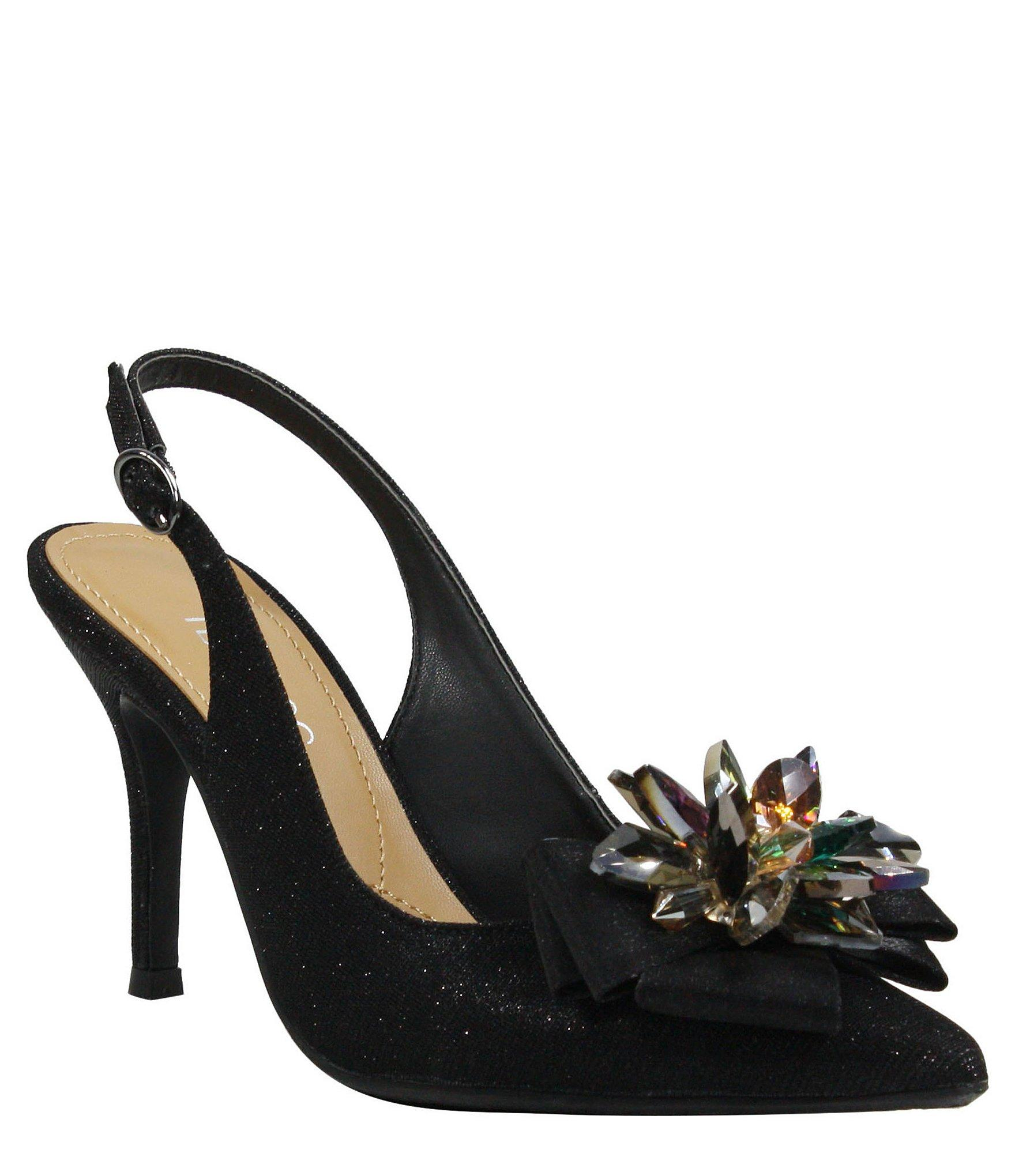 08e65738b69 Lyst - J. Reneé Denyell Glitter Flower Ornament Sling Pumps in Black