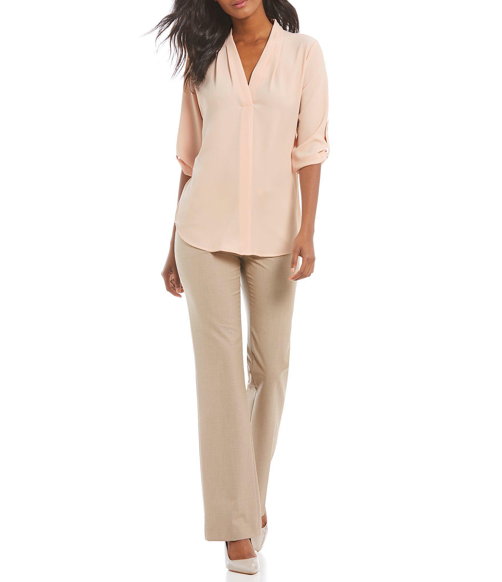 4cb1d68e7903 Calvin Klein - Black Pleated V-neck Roll-tab Long Sleeve Top - Lyst. View  fullscreen
