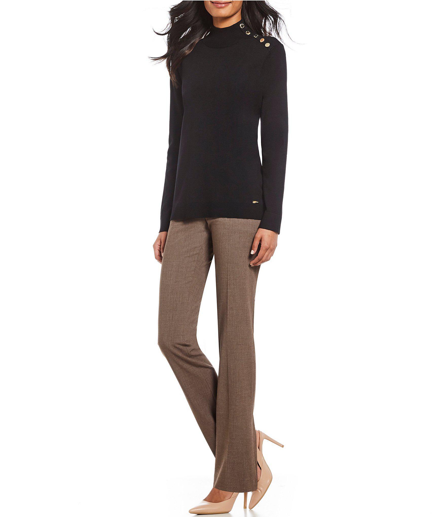 f6f96647d0809 Calvin Klein - Black Button Embellished Shoulder Mock Neck Sweater - Lyst.  View fullscreen