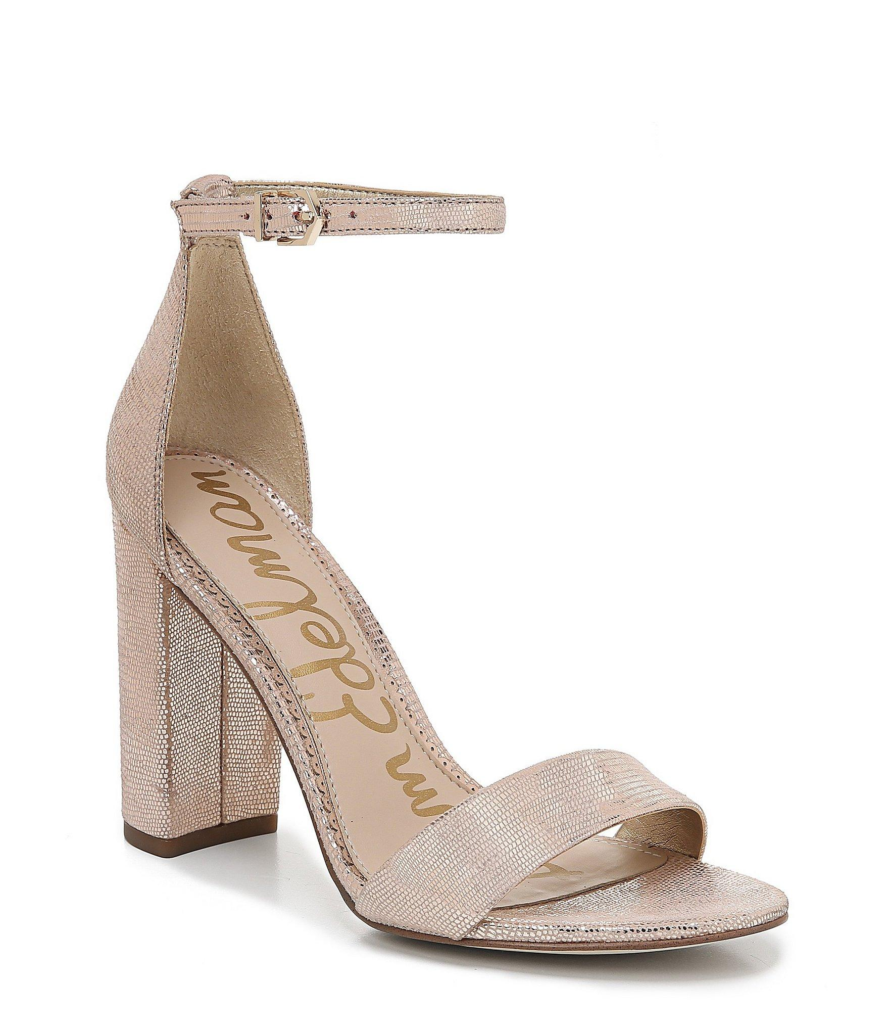 4e94c33e6cd Sam Edelman. Women s Yaro Metallic Leather Ankle Strap Block Heel Dress  Sandals