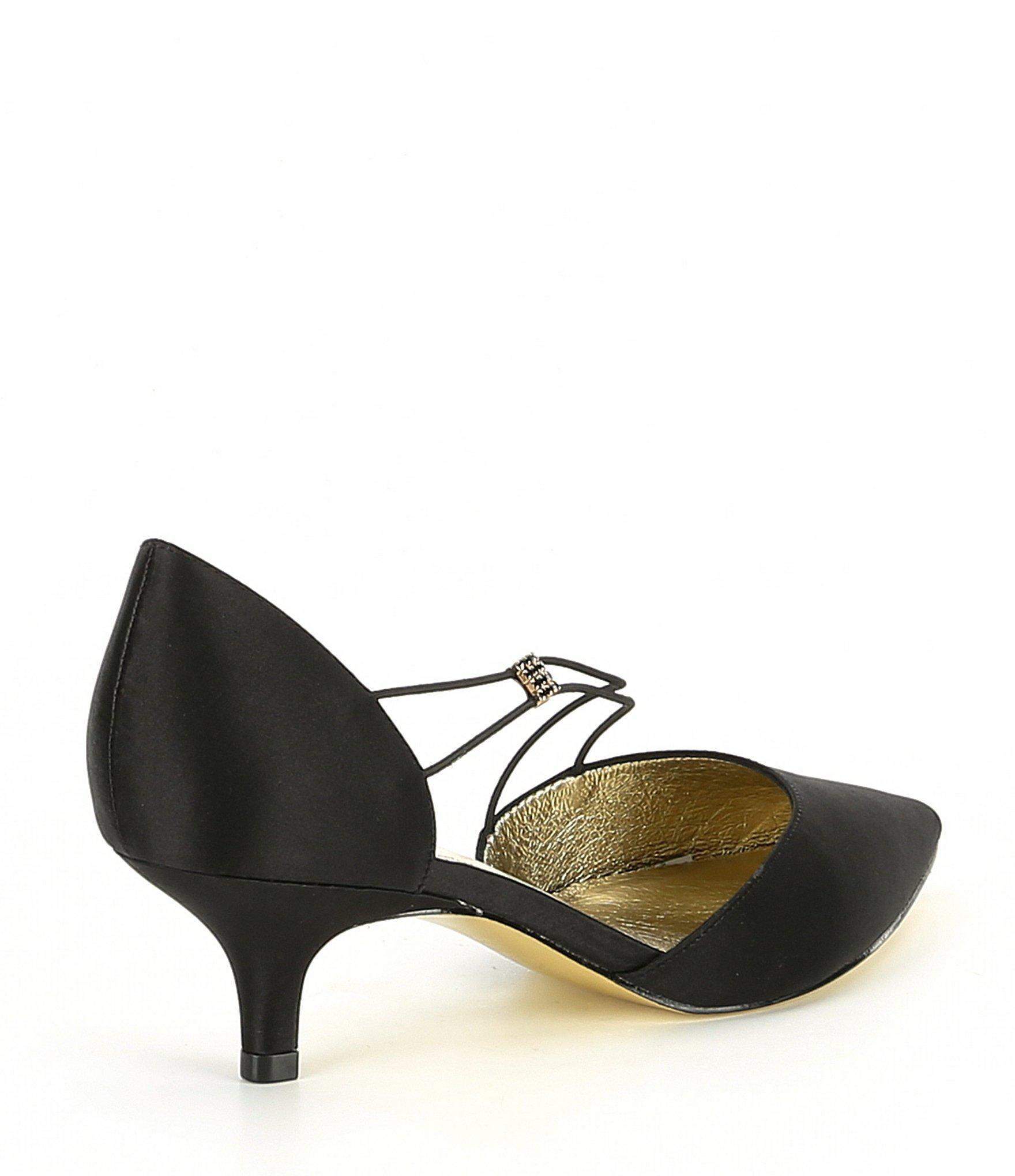 69dd66d19dbd9 Adrianna Papell - Black Lacy Asymmetrical Satin Kitten Heel Pumps - Lyst.  View fullscreen