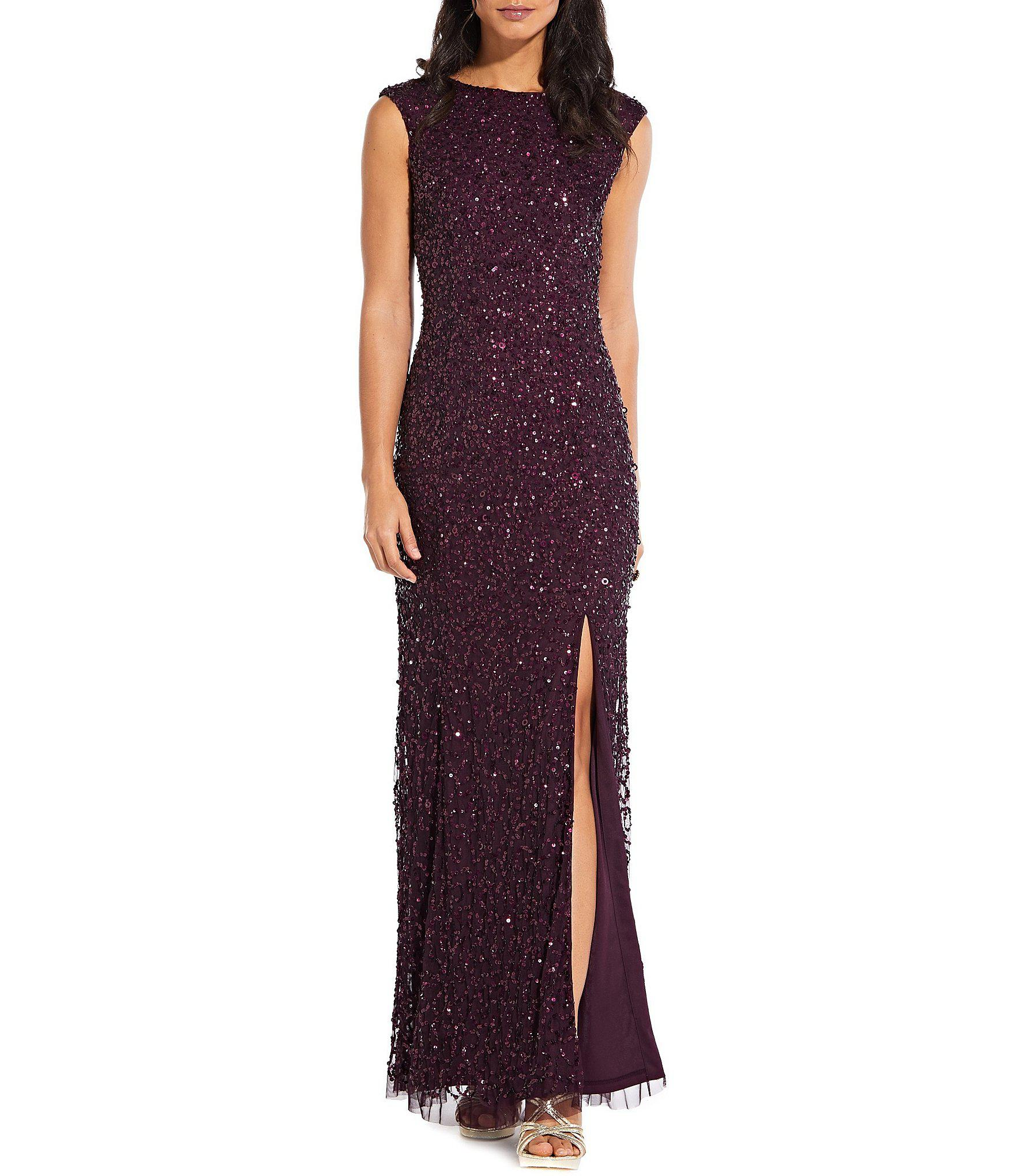 9d15d12faa3 Lyst - Adrianna Papell Sequin Cap Sleeve Side Slit Gown in Purple