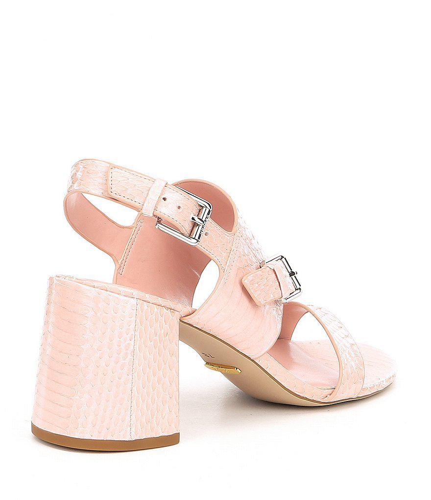 Lauren Ralph Lauren Florin Snake Embossed Block Heel Dress Sandals sa31FqlX