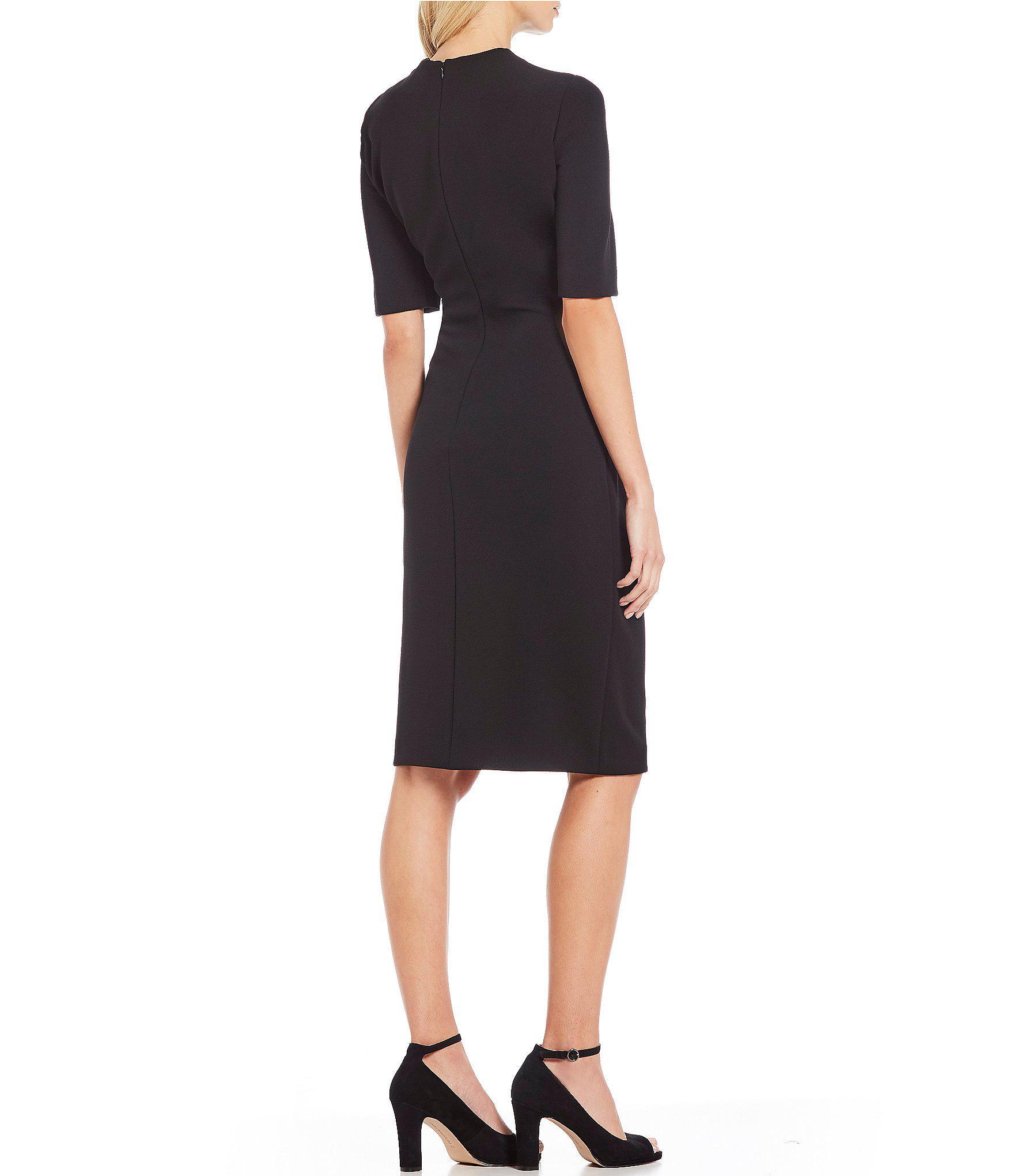 56f1512bdc76c Tahari Surplice Ruched Crepe Sheath Dress in Black - Save 45% - Lyst