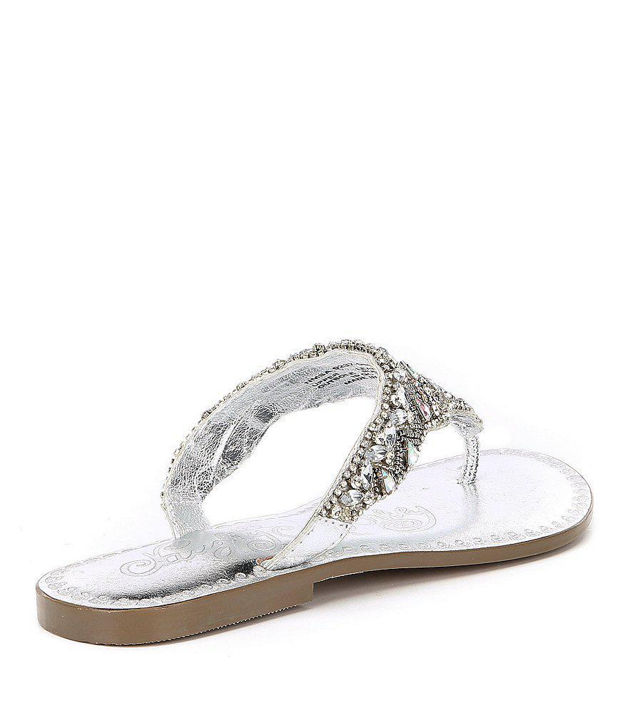 Loving U Jeweled Thong Sandals rEYjM7Gj