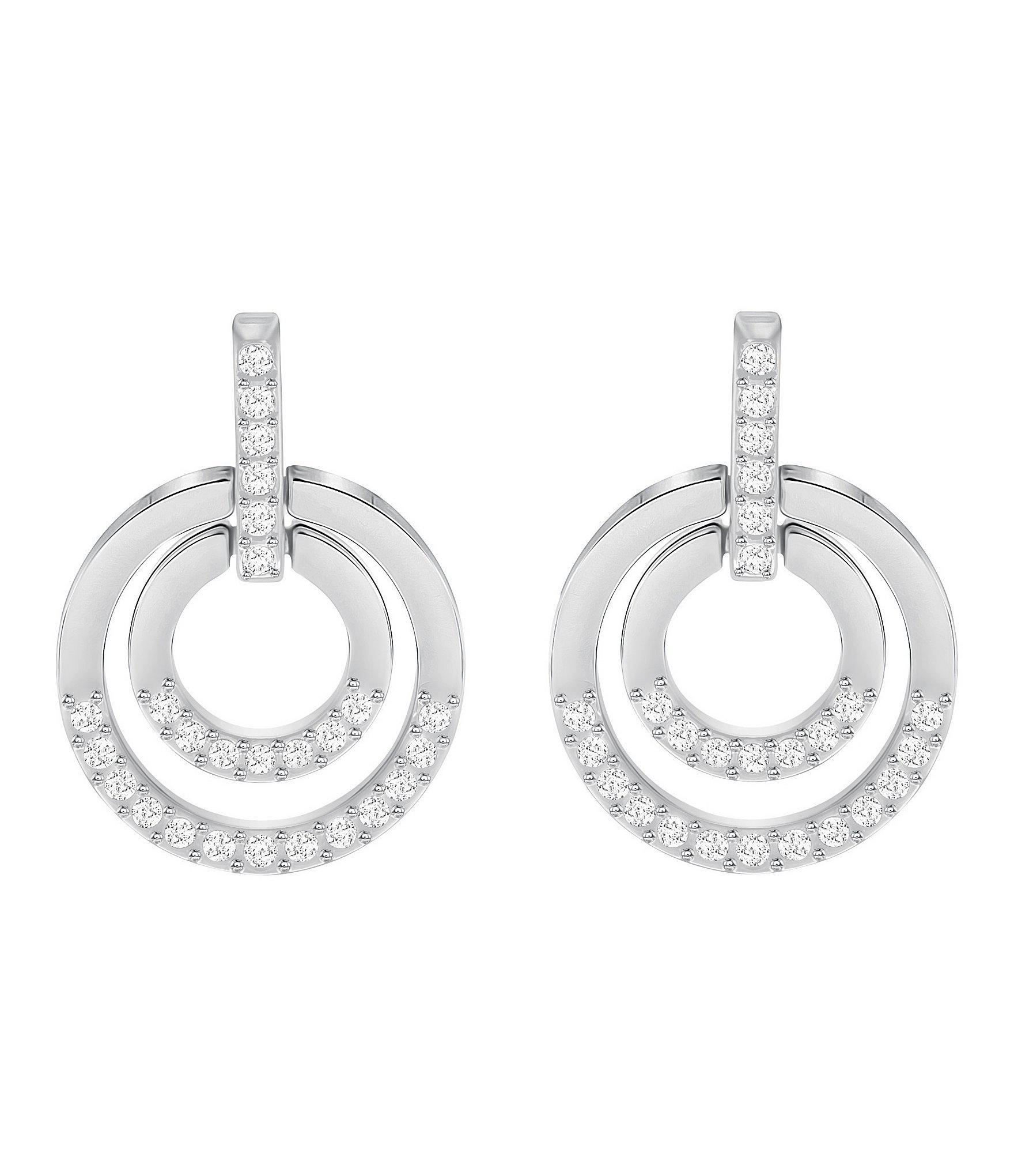 89e4974b0 Lyst - Swarovski Circle Drop Earrings in Metallic