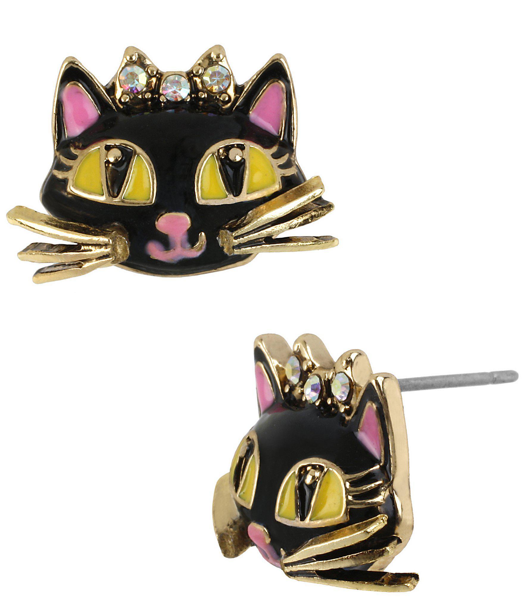 b23c8e077 Lyst - Betsey Johnson Cat Stud Earrings in Metallic