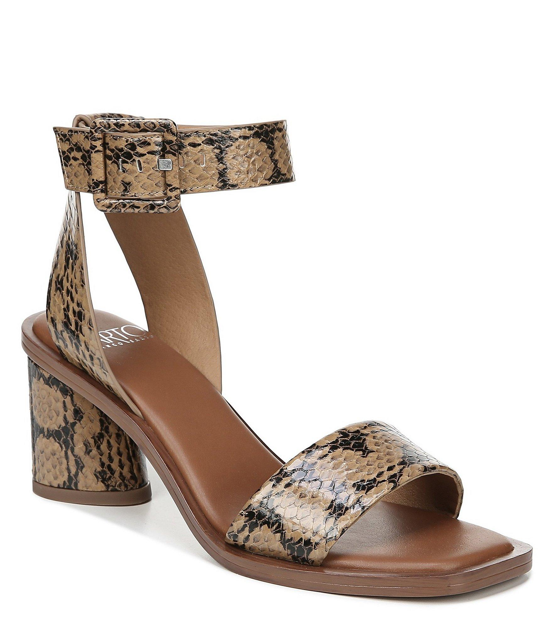 58733e1a4ed Lyst - Franco Sarto Sarto By Risa Snake Print Leather Sandals in Brown