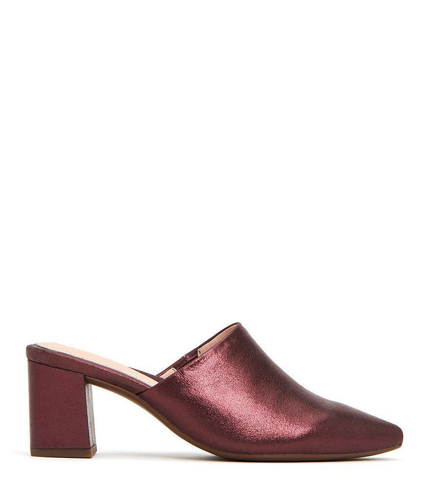Taryn Rose Madison Metallic Leather Block Heel Mules oWDt6Bx9W