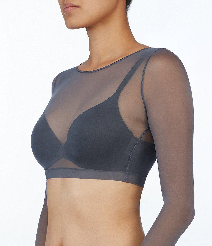 9591a79f92365 Lyst - Spanx Sheer Fashion Mesh Crop Top in Gray