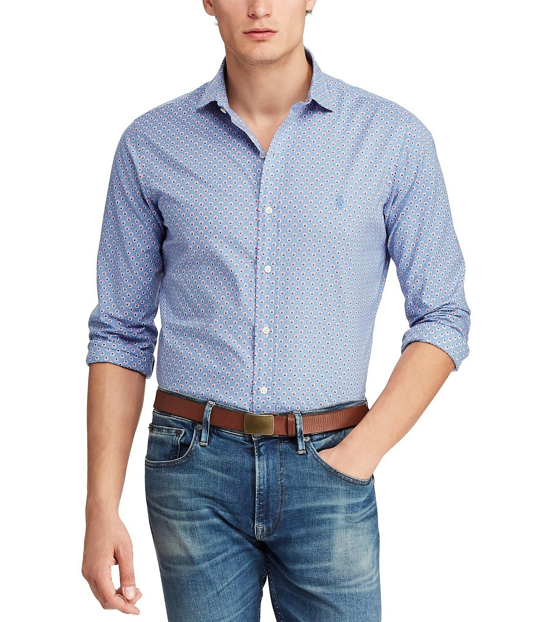 470fd0f0c9d Lyst - Polo Ralph Lauren Micro Crest Poplin Long-sleeve Woven Shirt ...