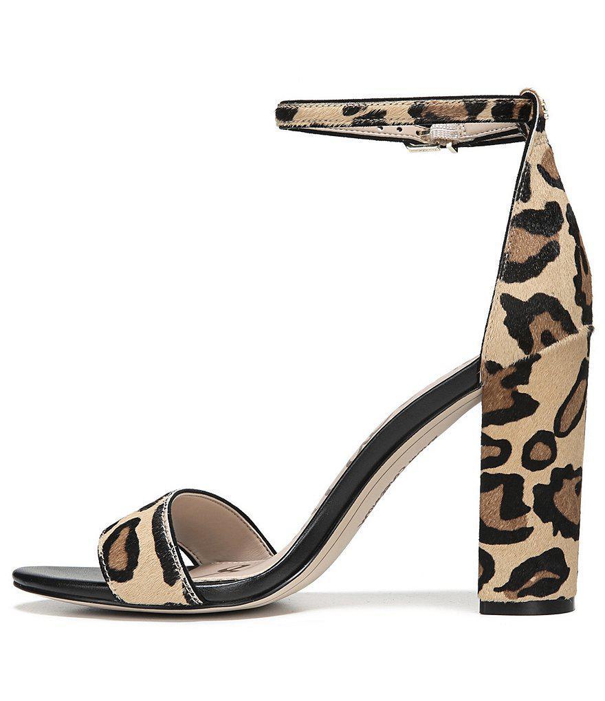 Yaro Leopard Print Brahama Hair Ankle Strap Block Heel Dress Sandals eLr2pLvk5u