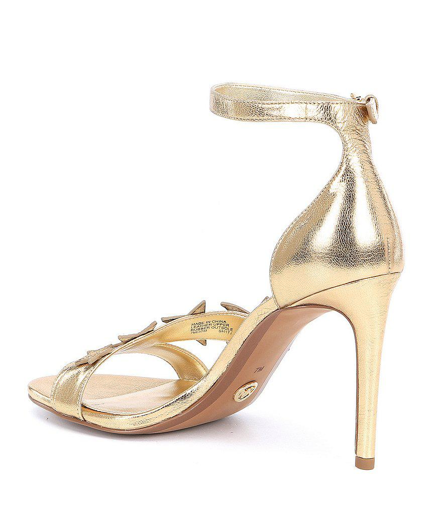 Lexie Metallic Snake Print Ankle Strap Dress Sandals DO521JqL