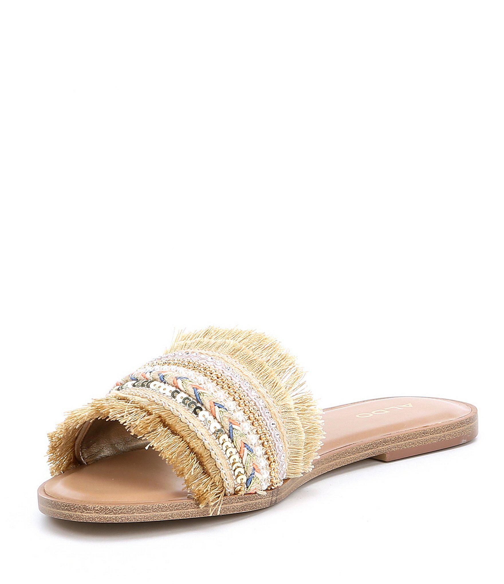 34b1d5641b2d Lyst - ALDO Castlerock Fringe Slide Sandals in Metallic