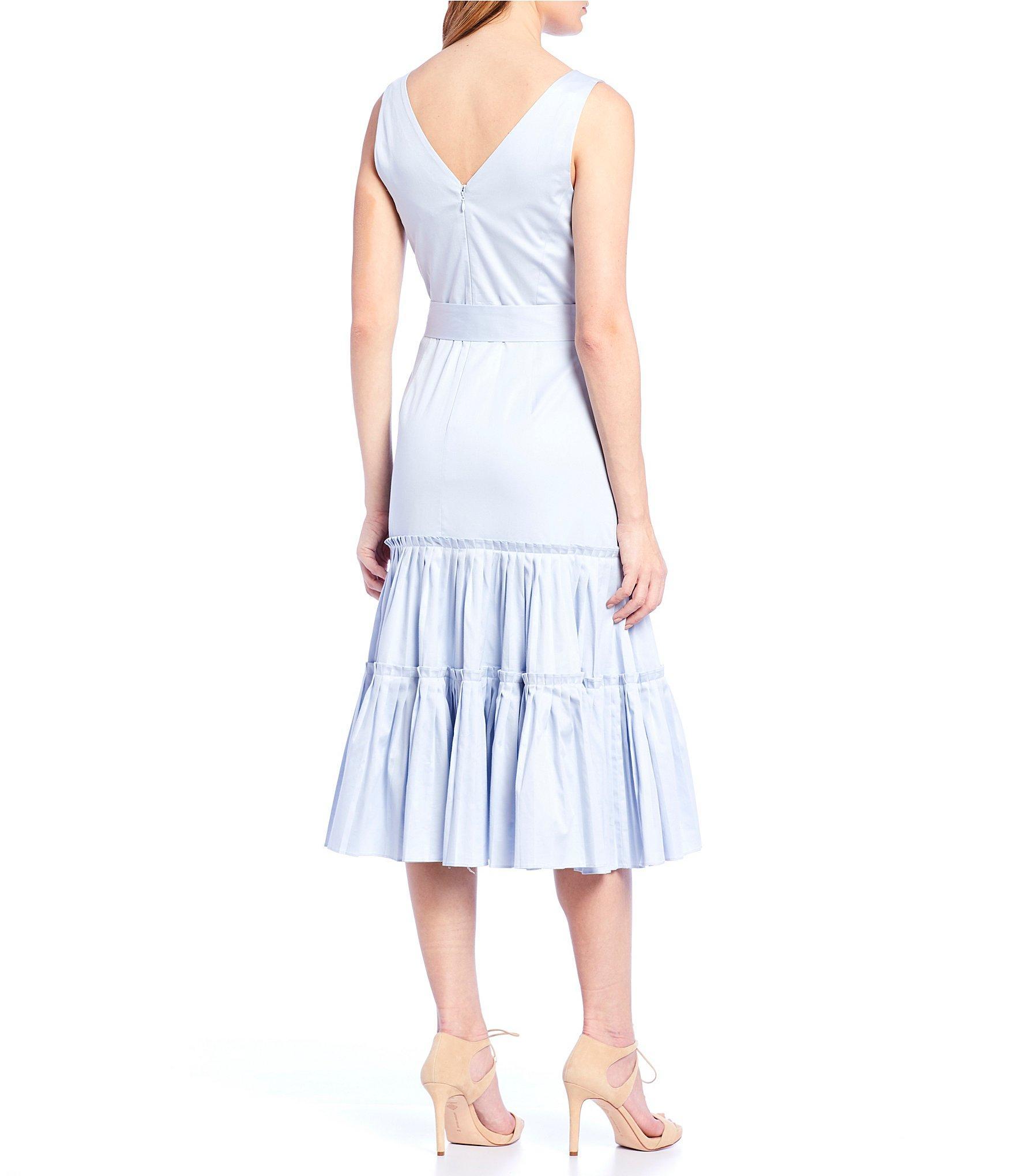 9e68297036b Lyst - Antonio Melani Sonia V-neck Tie Waist Tiered Ruffle A-line ...