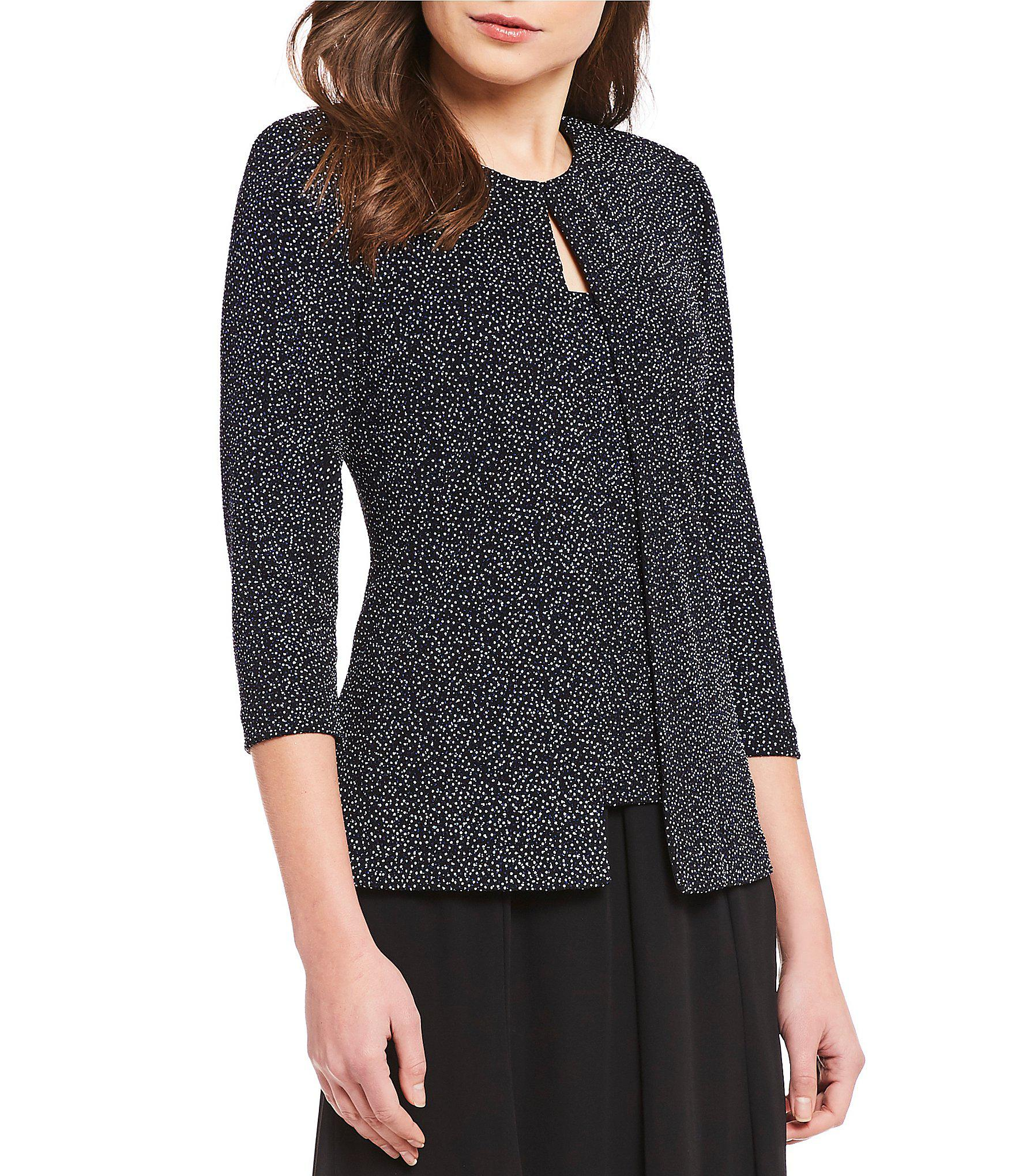 7fa1669dc3a Lyst - Alex Evenings 3 4 Sleeve Printed Glitter Knit Twinset in Black