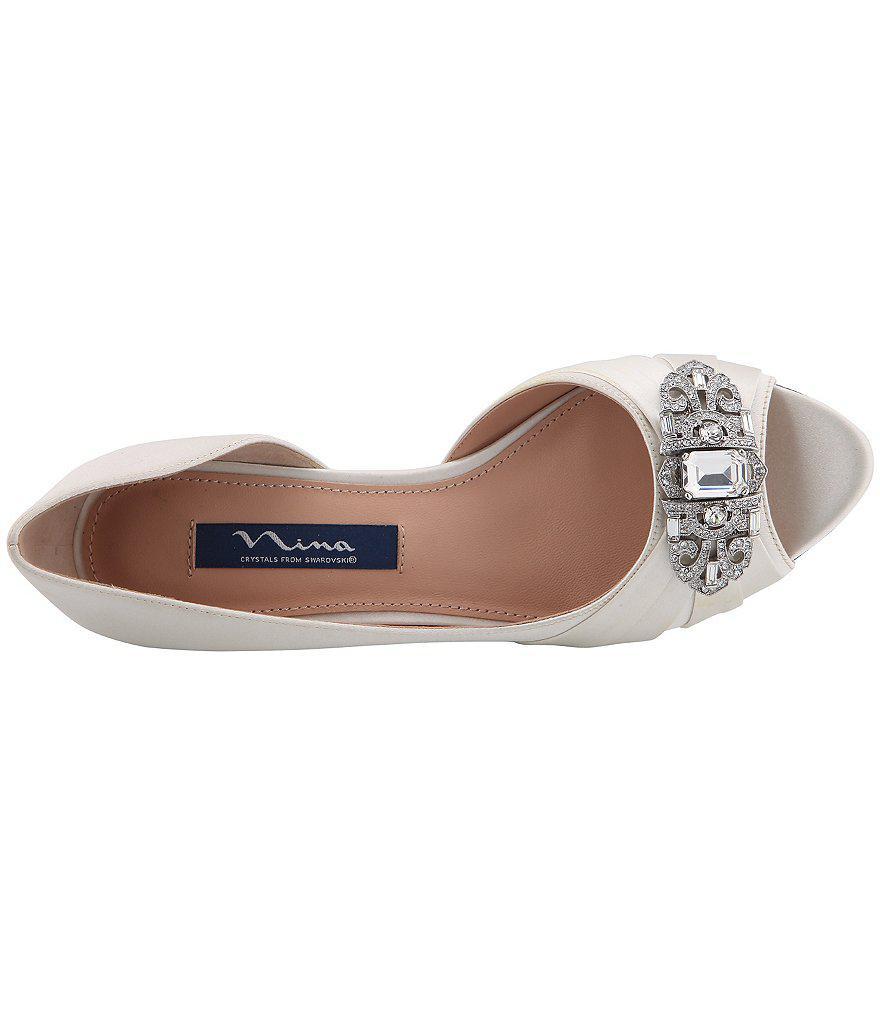 Nina Radha Satin Swarovski Crystal Brooch Peep-Toe Dress Wedges gswqJXHZ