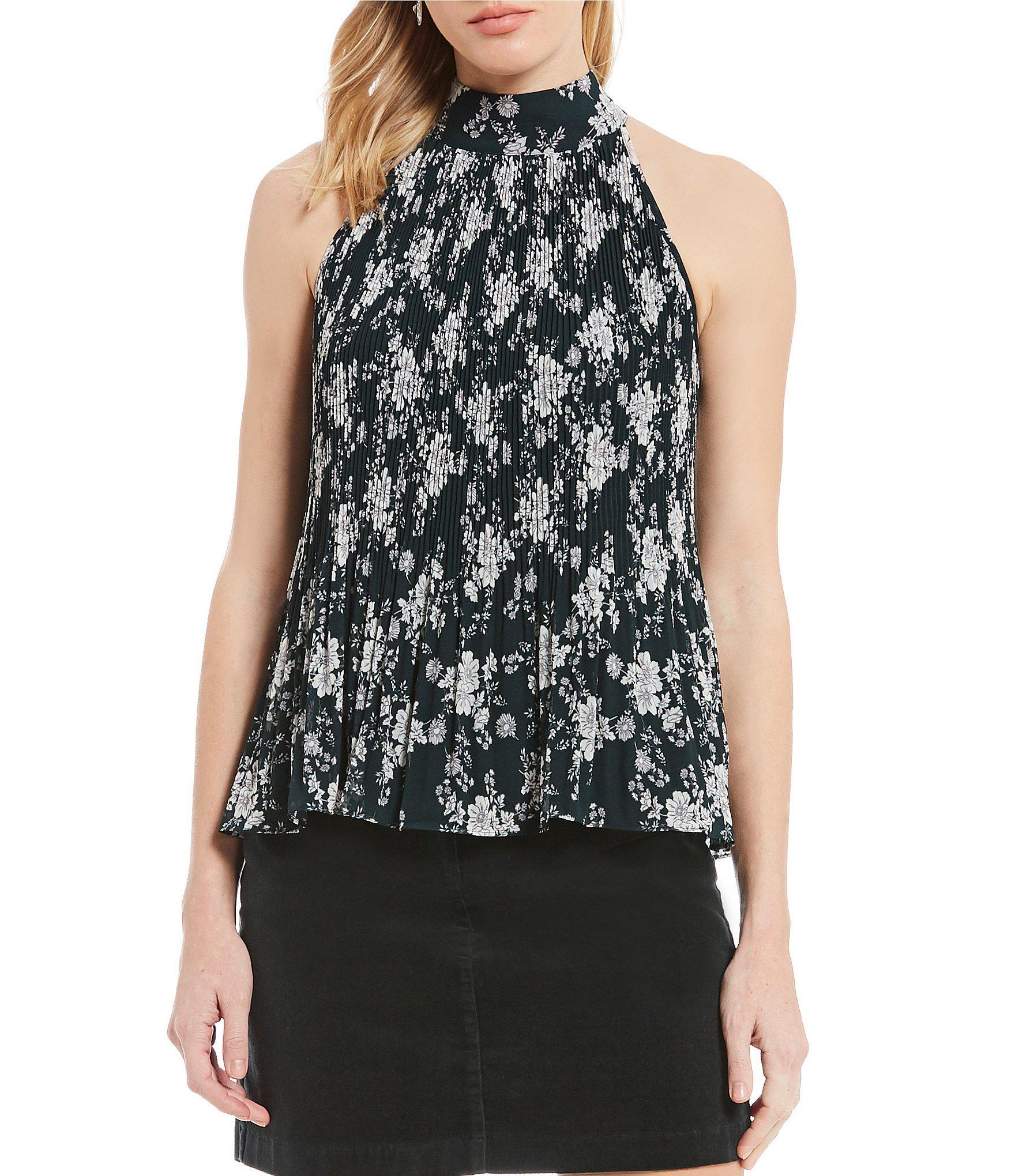 STATE - Black Gauze Chiffon Pleated Floral Print Halter Top - Lyst. View  fullscreen b11328d63
