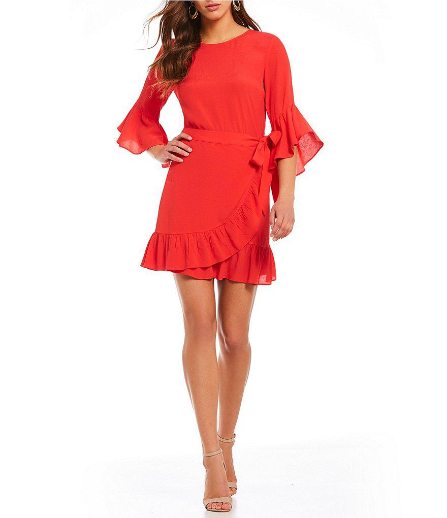 d4c714df60 Lucy Paris Vanessa Bell Sleeve Ruffle Wrap Dress in Red - Lyst
