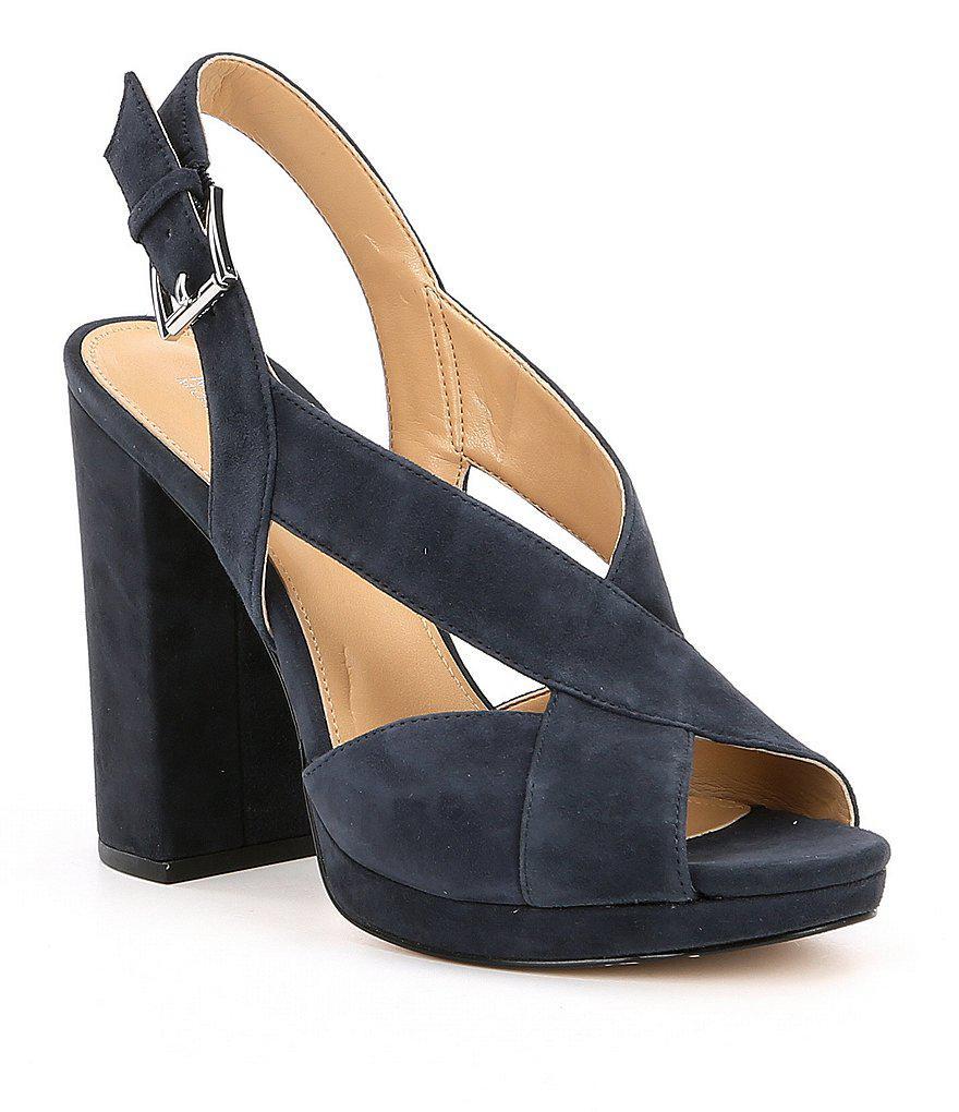 d036b622491 Lyst - MICHAEL Michael Kors Becky Suede Platform Sandals in Blue