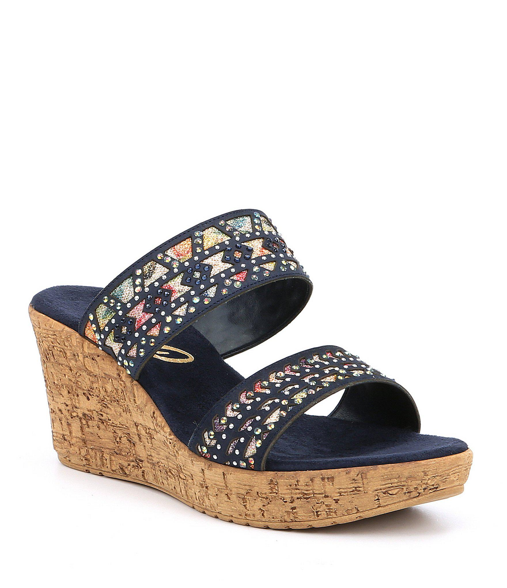 Lyst Onex Rubi Leather Metallic Pattern Studs Wedge Sandals
