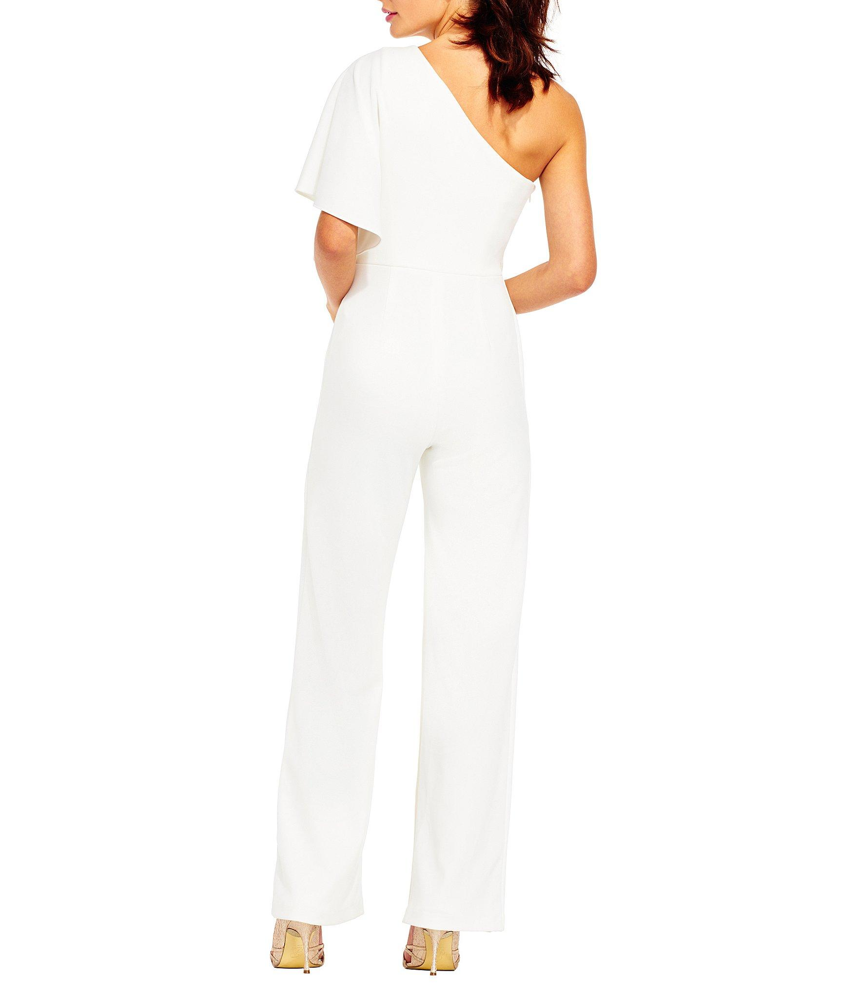 fe52617035f9 Adrianna Papell - White Crepe One Shoulder Jumpsuit - Lyst. View fullscreen