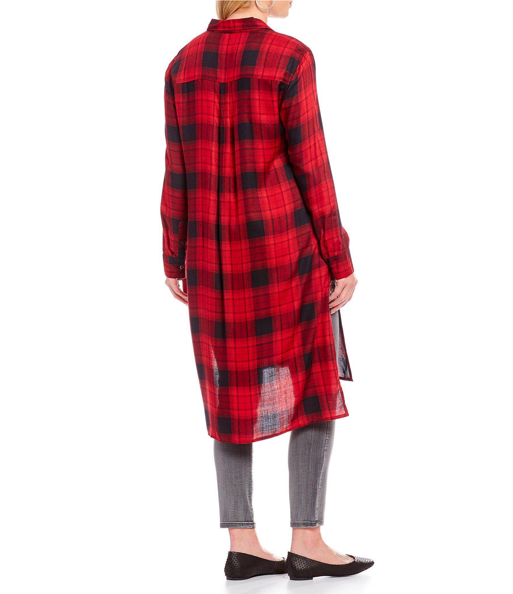 82f001bb43e7d Lyst - Jessica Simpson Plus Size Plaid Side Slit Hi-low Duster Shirt ...