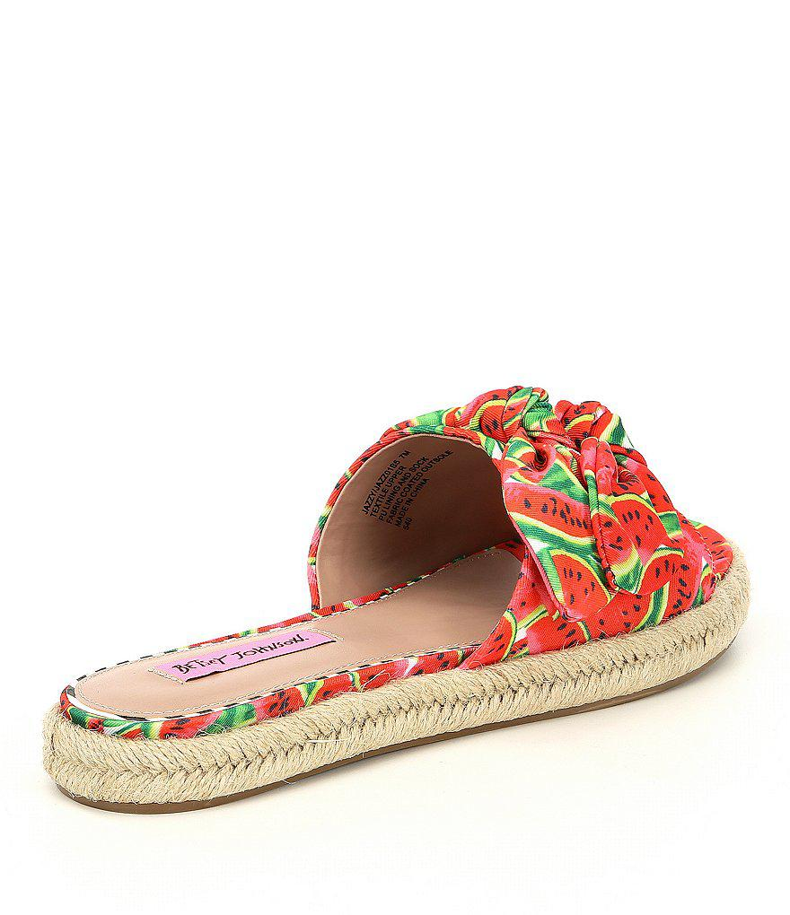 Betsey Johnson Jazzy Watermelon Print Knotted Espadrille Slide Sandals CPxIDj