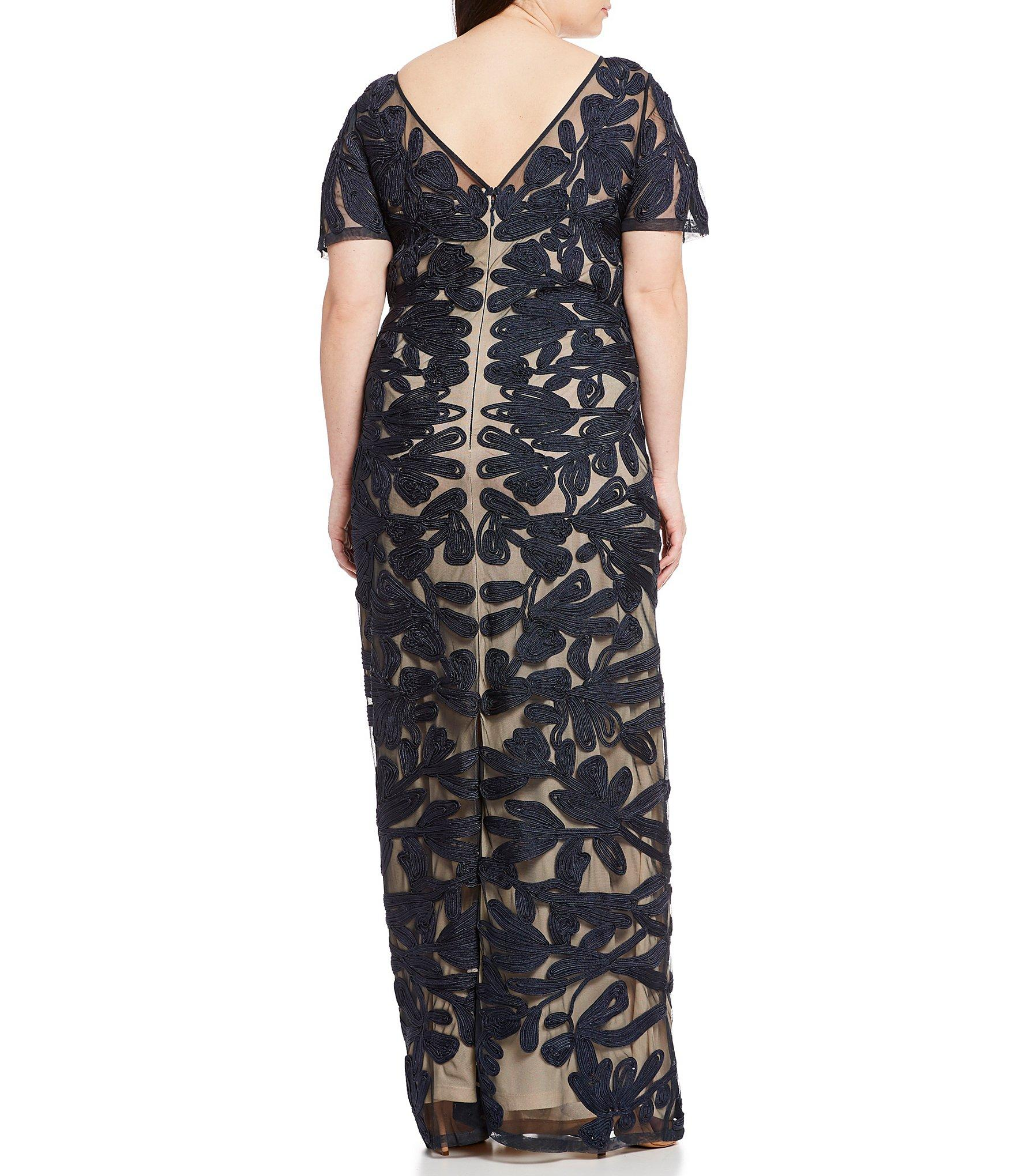 86b546a39faa5 JS Collections - Blue Plus Size Illusion Neck Short Sleeve Embroidered  Soutache Gown - Lyst. View fullscreen
