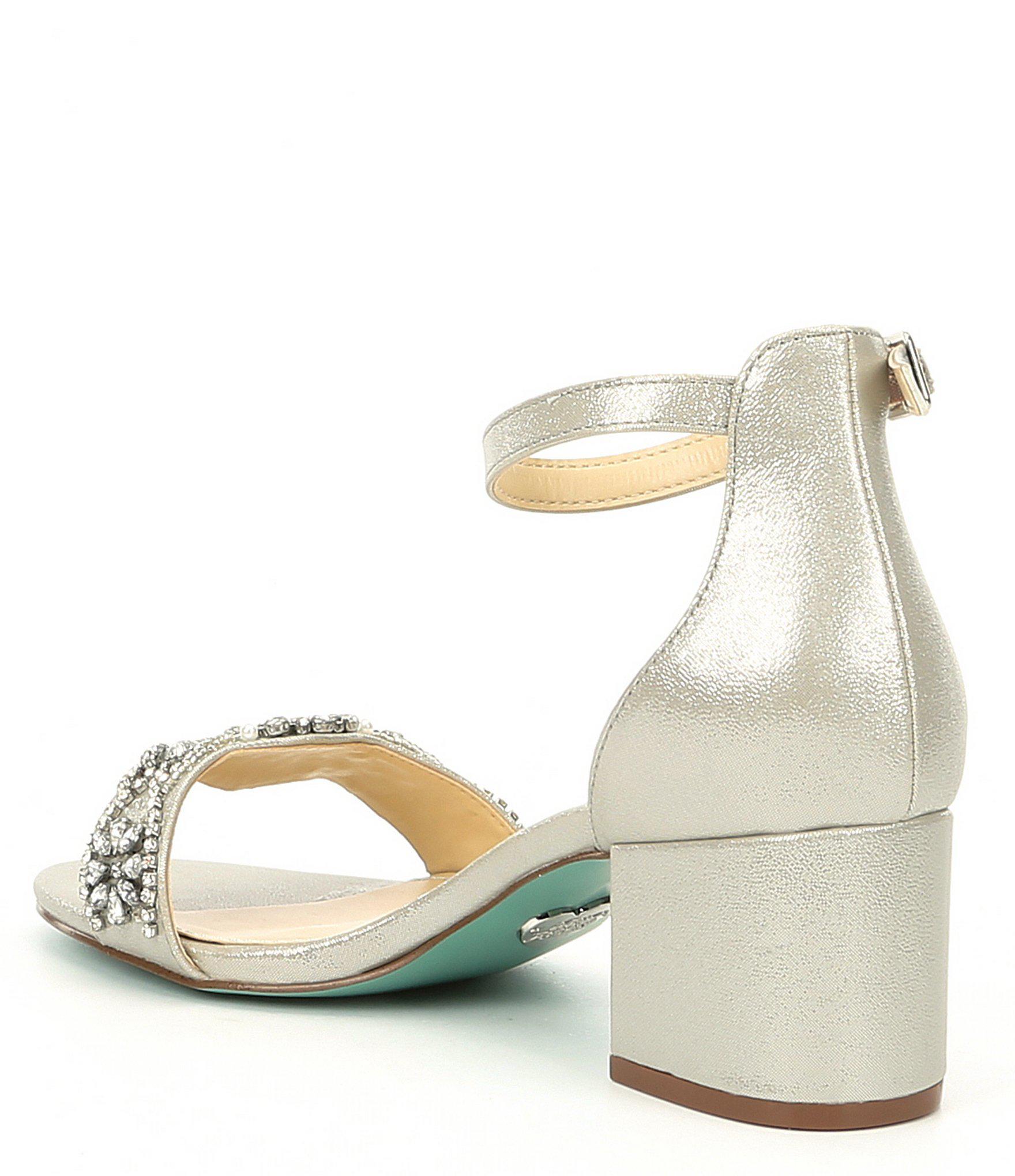 738872a919 Betsey Johnson - Metallic Blue By Mel Bejeweled Satin Block Heel Dress  Sandals - Lyst. View fullscreen