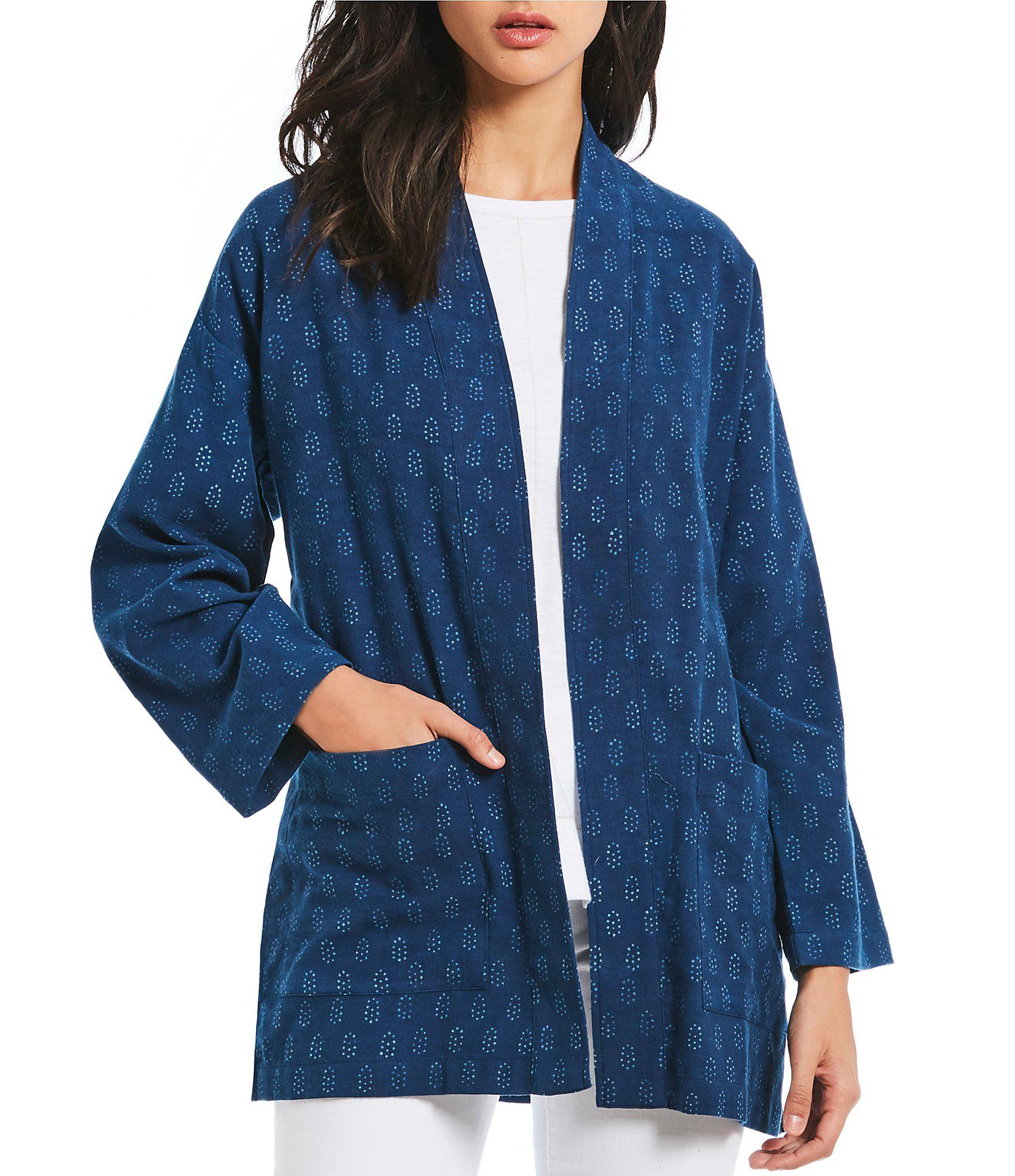300b4d4690e Lyst - Eileen Fisher Petite Size Long Kimono Jacket in Blue - Save 10%