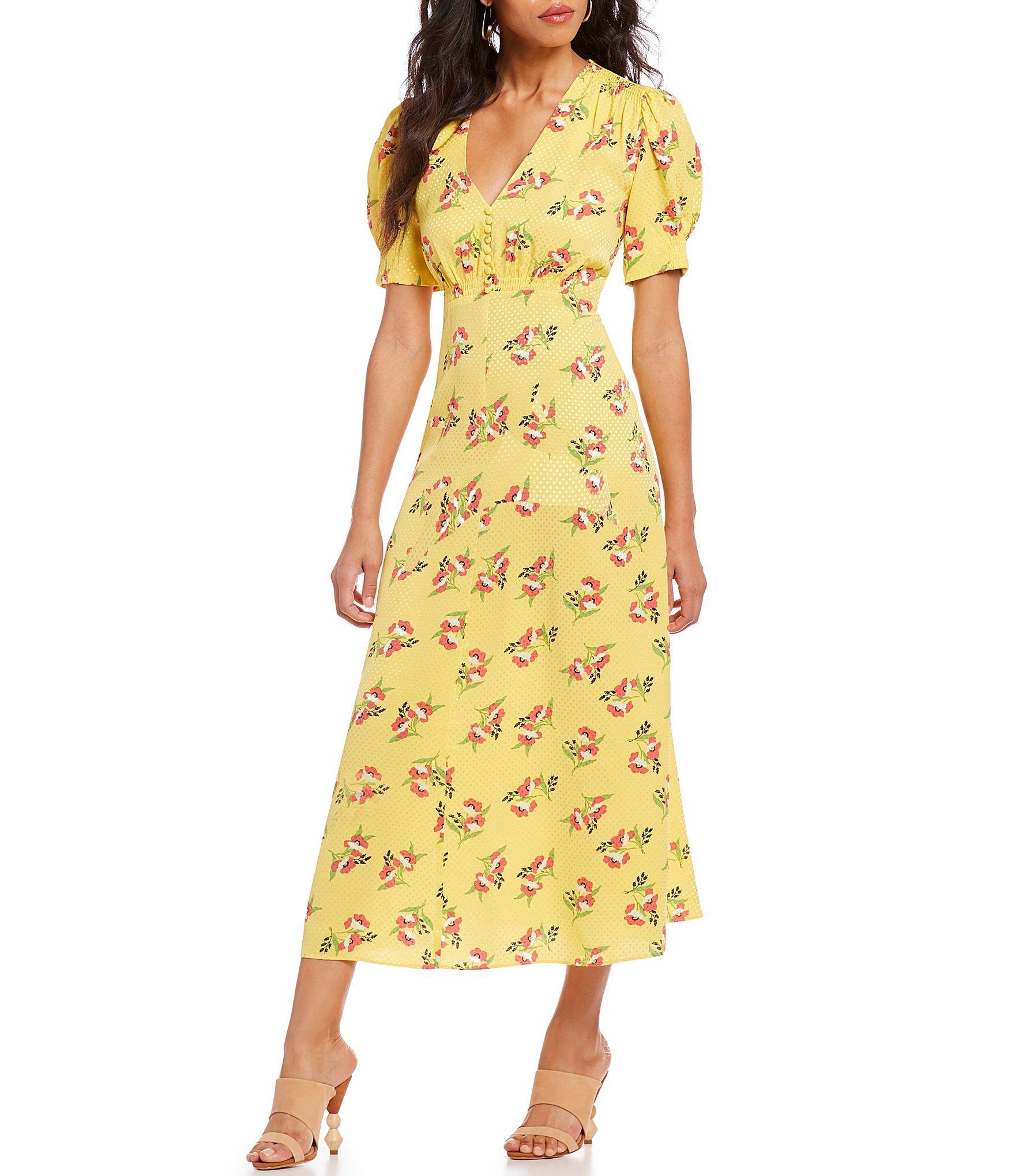 458e804c6e6 JILL Jill Stuart Floral Print V-neck Puffed Sleeve A-line Midi Dress ...