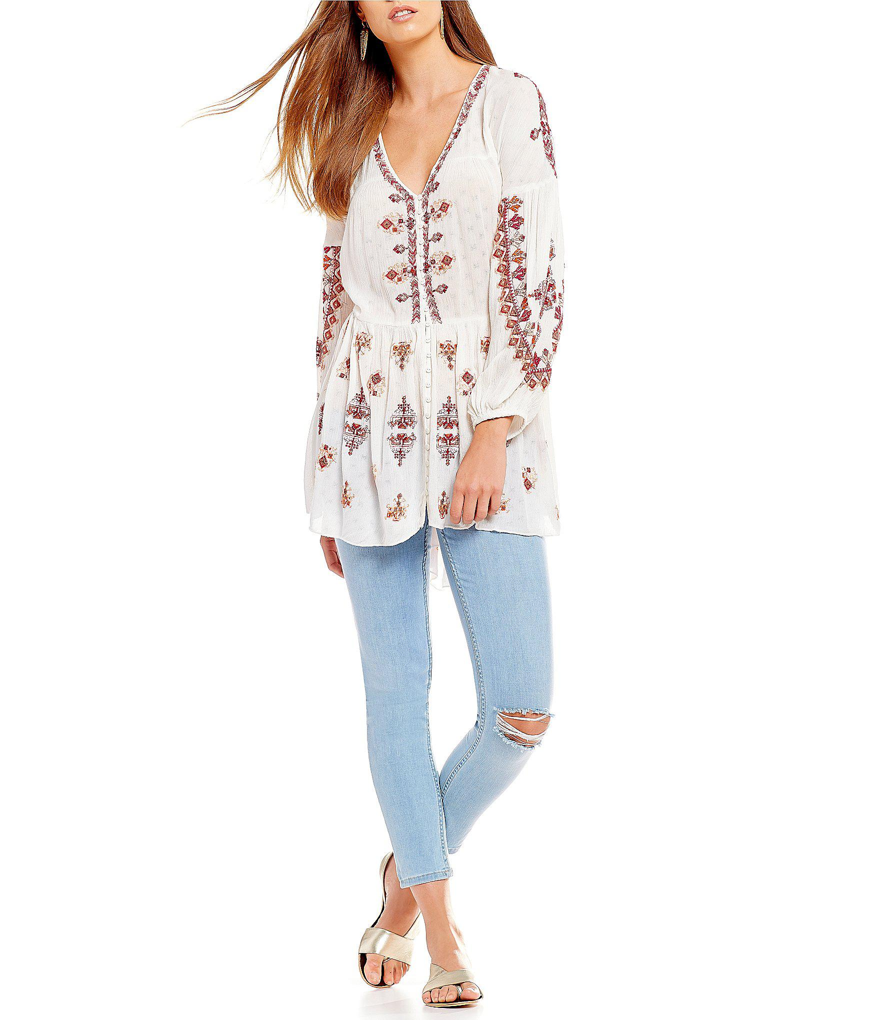 58a12e478b8 Free People Arianna Woven Embroidered Balloon Sleeve Tunic Top in ...