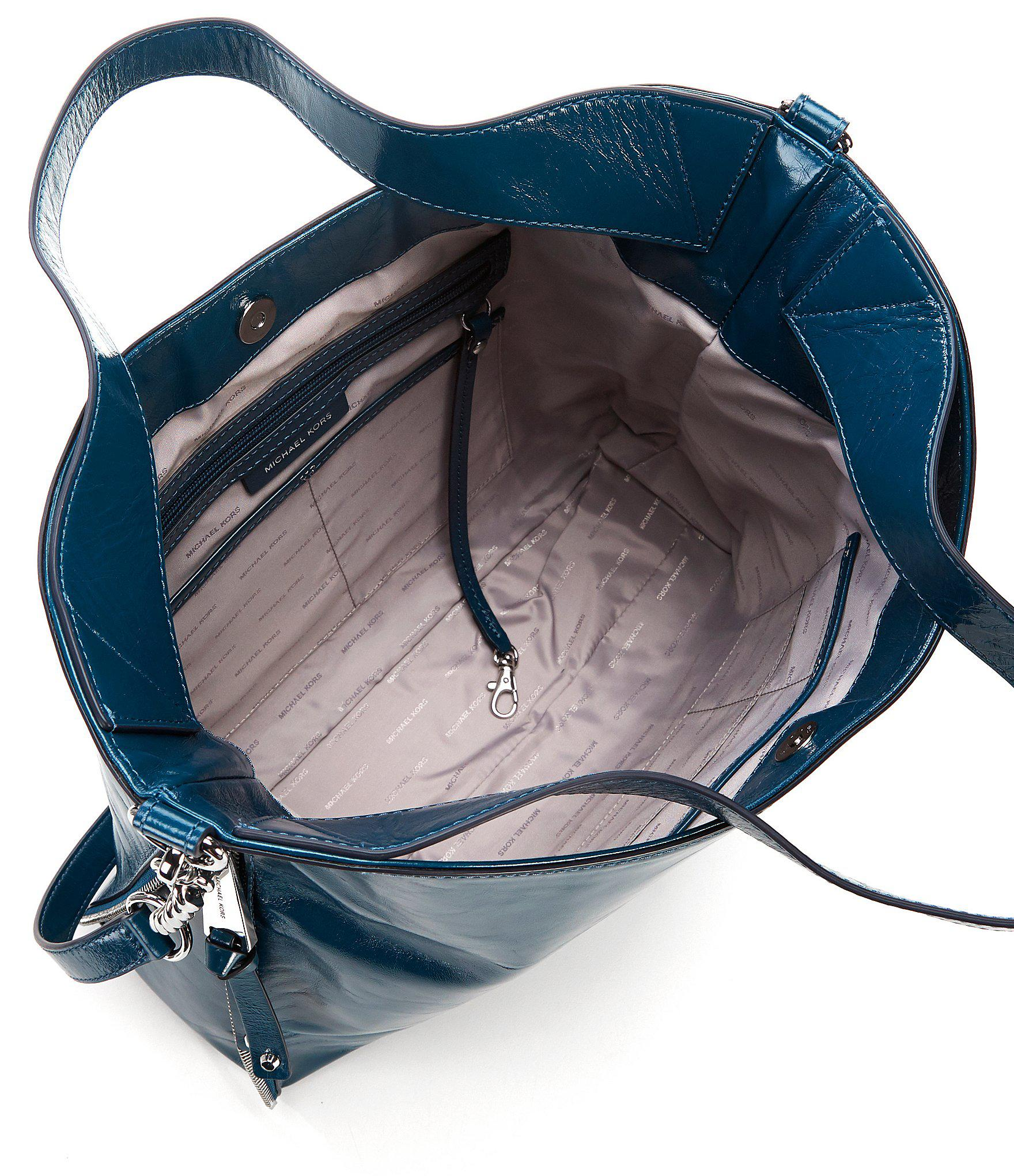 4b02ab4fac Lyst - MICHAEL Michael Kors Devon Large Shiny Crinkle Tote in Blue