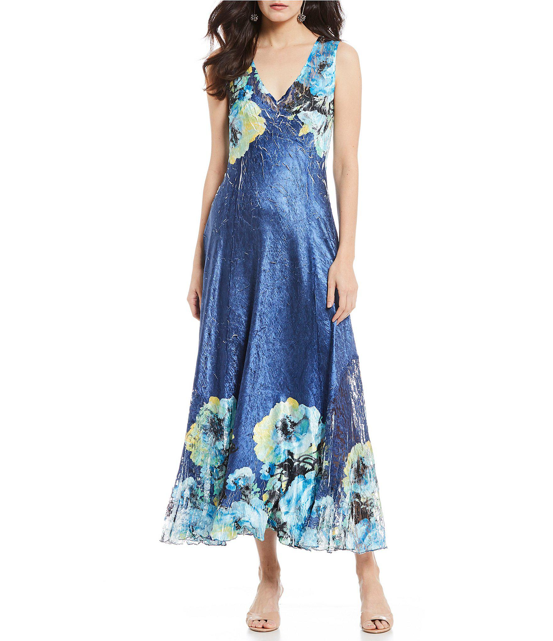 0e01e4153c Komarov - Blue V-neck Floral Print Long Midi Dress - Lyst. View fullscreen
