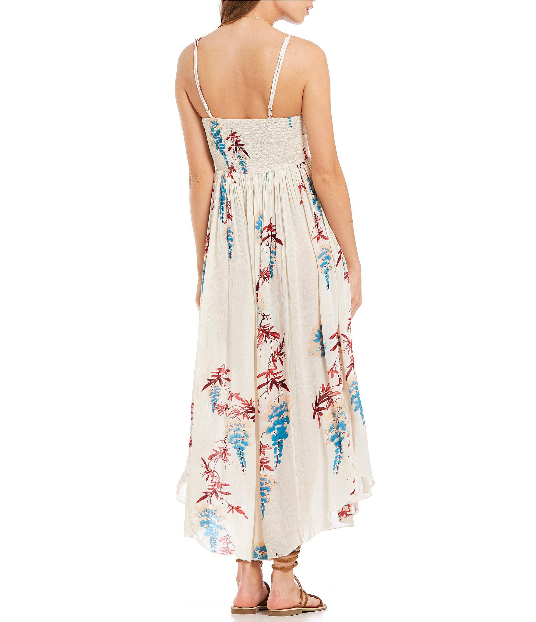 18ff3034a5be Free People Beau Smocked Floral Print Slip Maxi Dress in White - Lyst